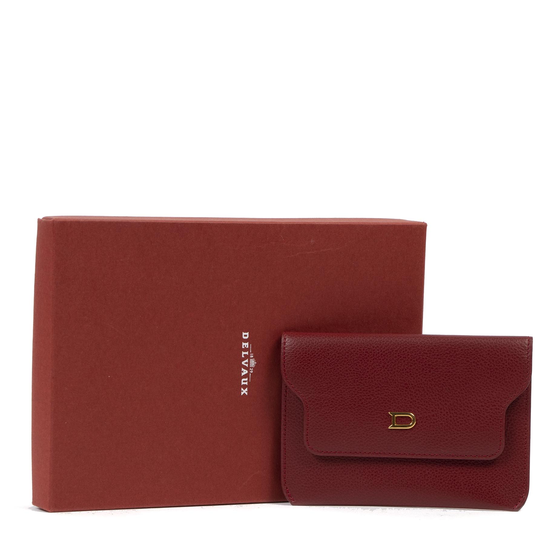 Authentieke tweedehands vintage Delvaux Burgundy Wallet koop online webshop LabelLOV