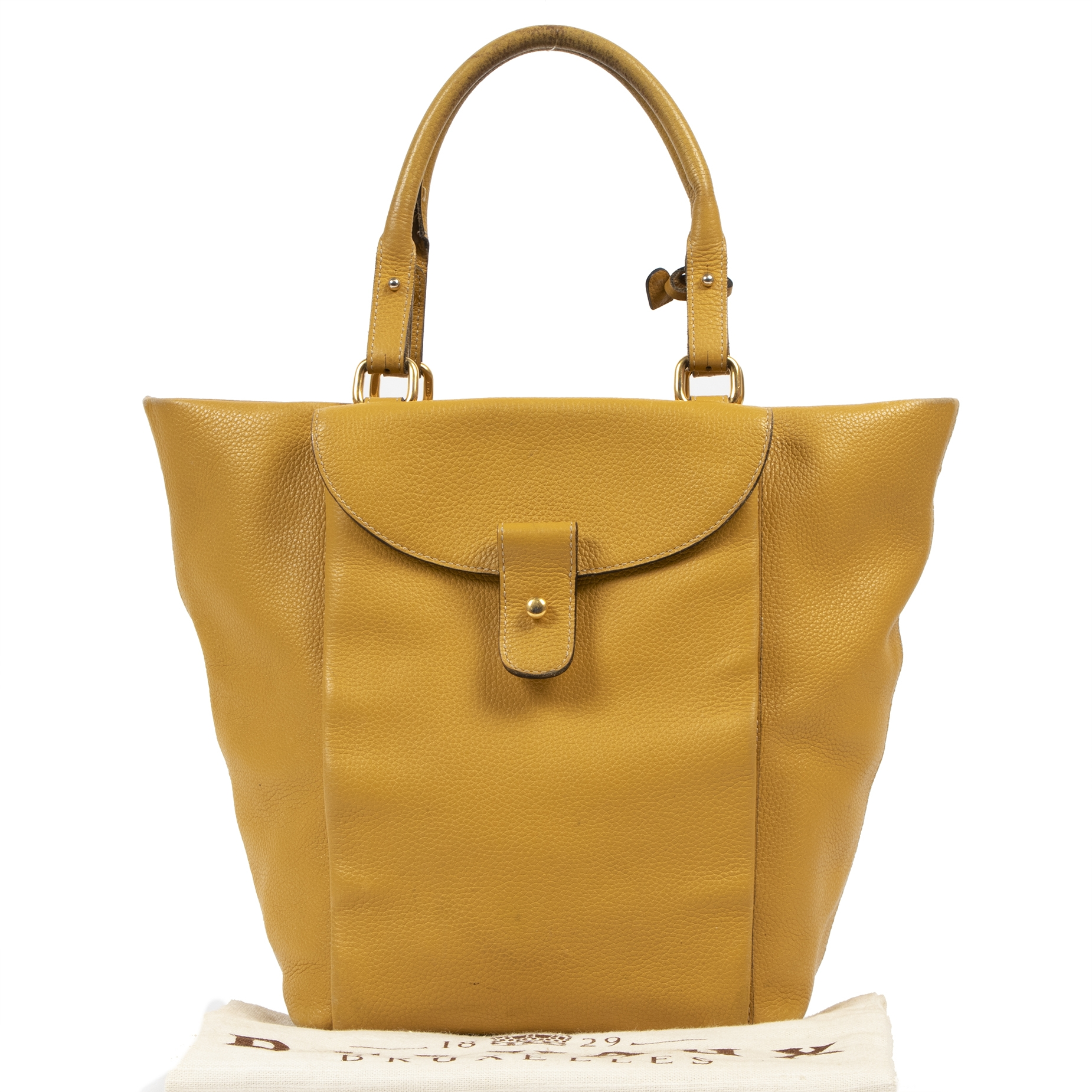 Authentic second-hand vintage Delvaux Mustard Leather Tote Bag buy online webshop LabelLOV