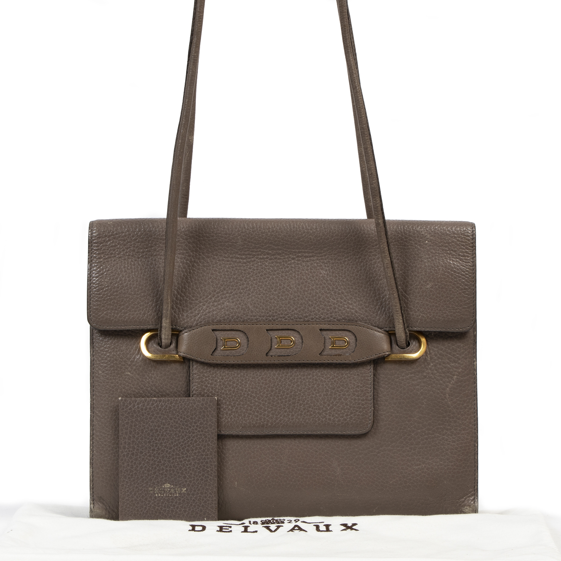 Authentieke tweedehands vintage Delvaux Taupe Leather Shoulder Bag koop online webshop LabelLOV