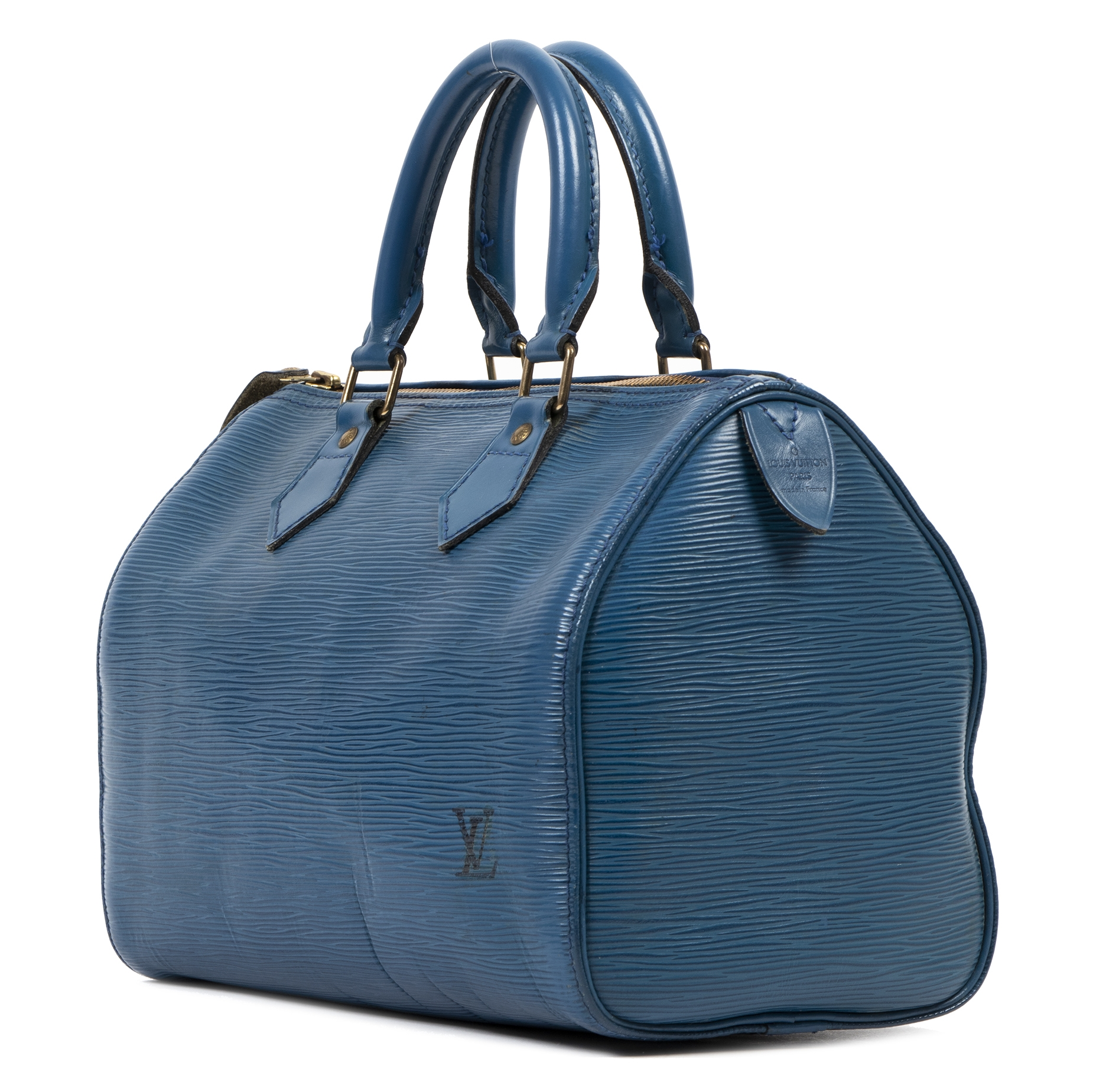 Authentic secondhand Louis Vuitton Blue Epi Speedy 25 Bag luxury vintage webshop fashion safe secure online shopping