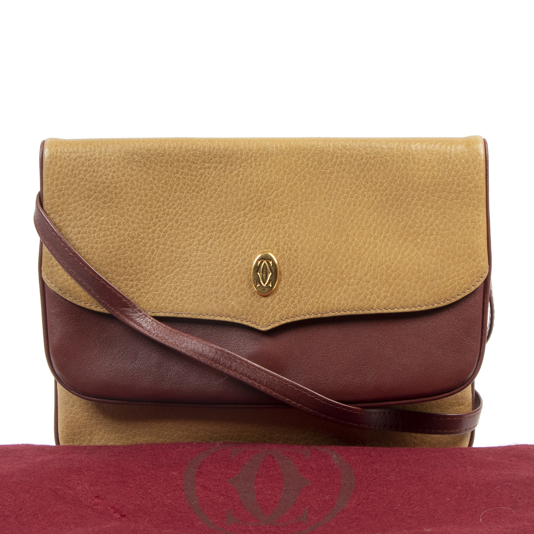 Cartier Brown Leather Must De Cartier Crossbody Bag
