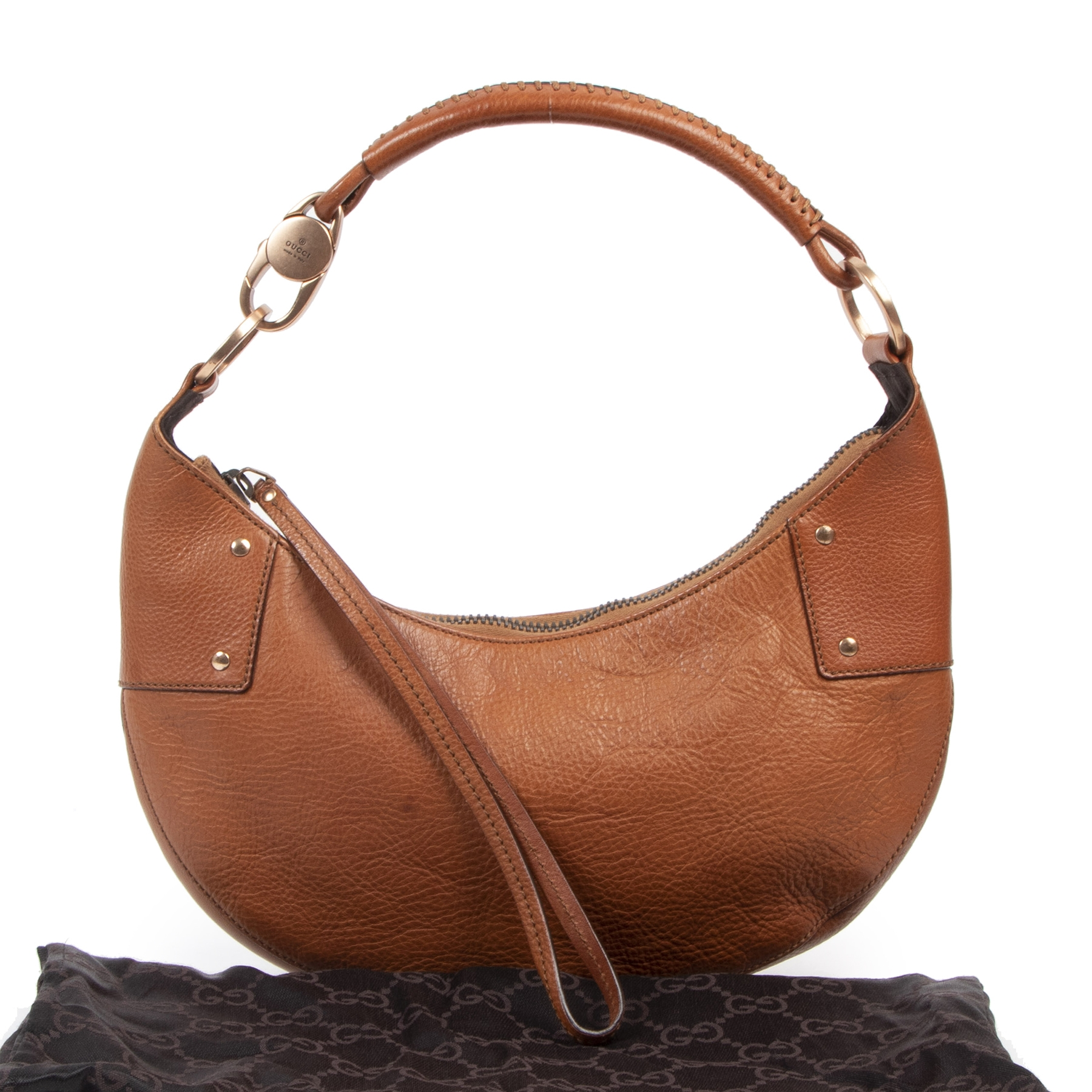 Gucci Camel Leather Half Moon Hobo Bag