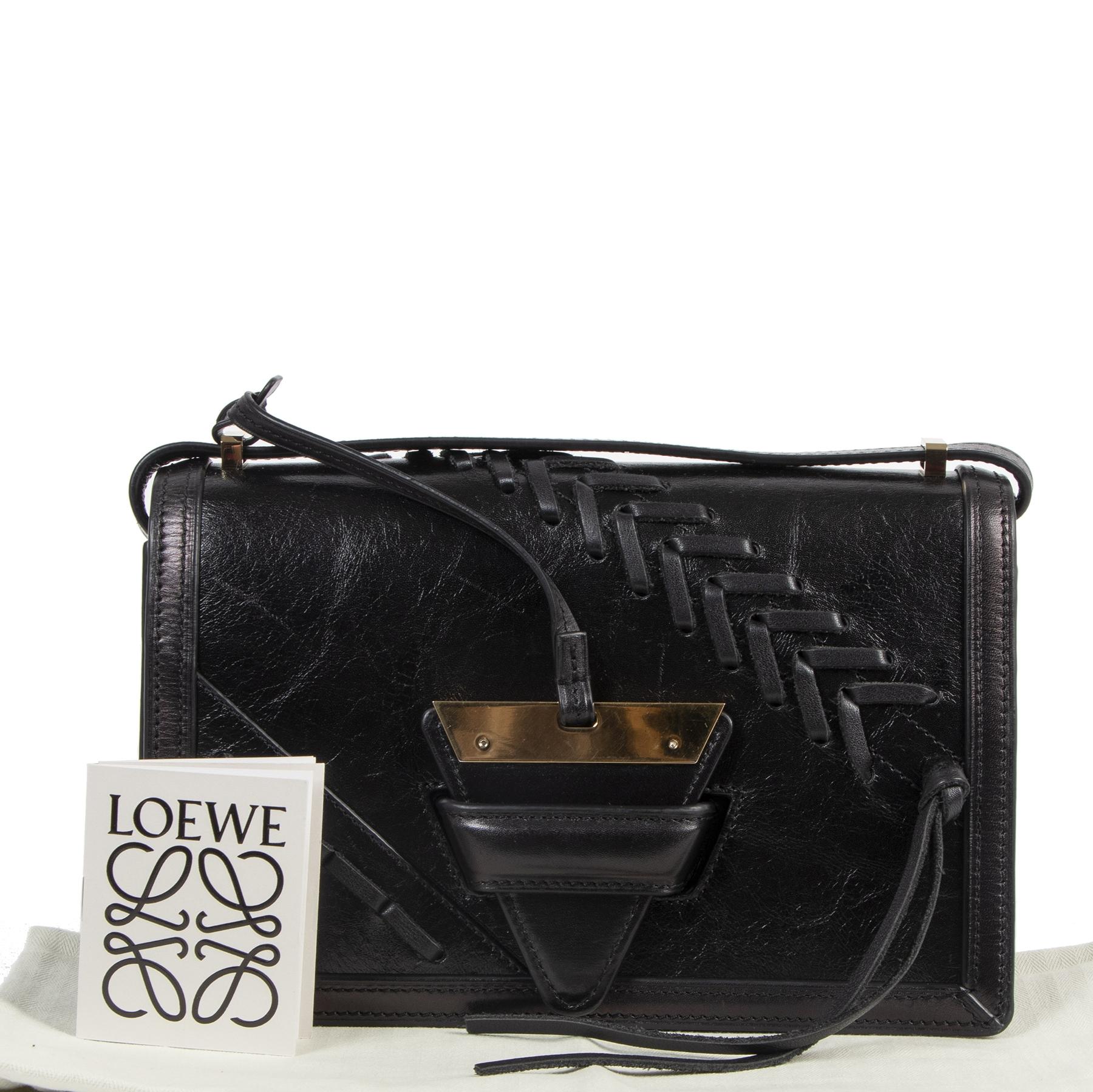 Authentic secondhand Loewe Black Barcelona Shoulder Bag designer bags fashion luxury vintage webshop safe secure online shopping
