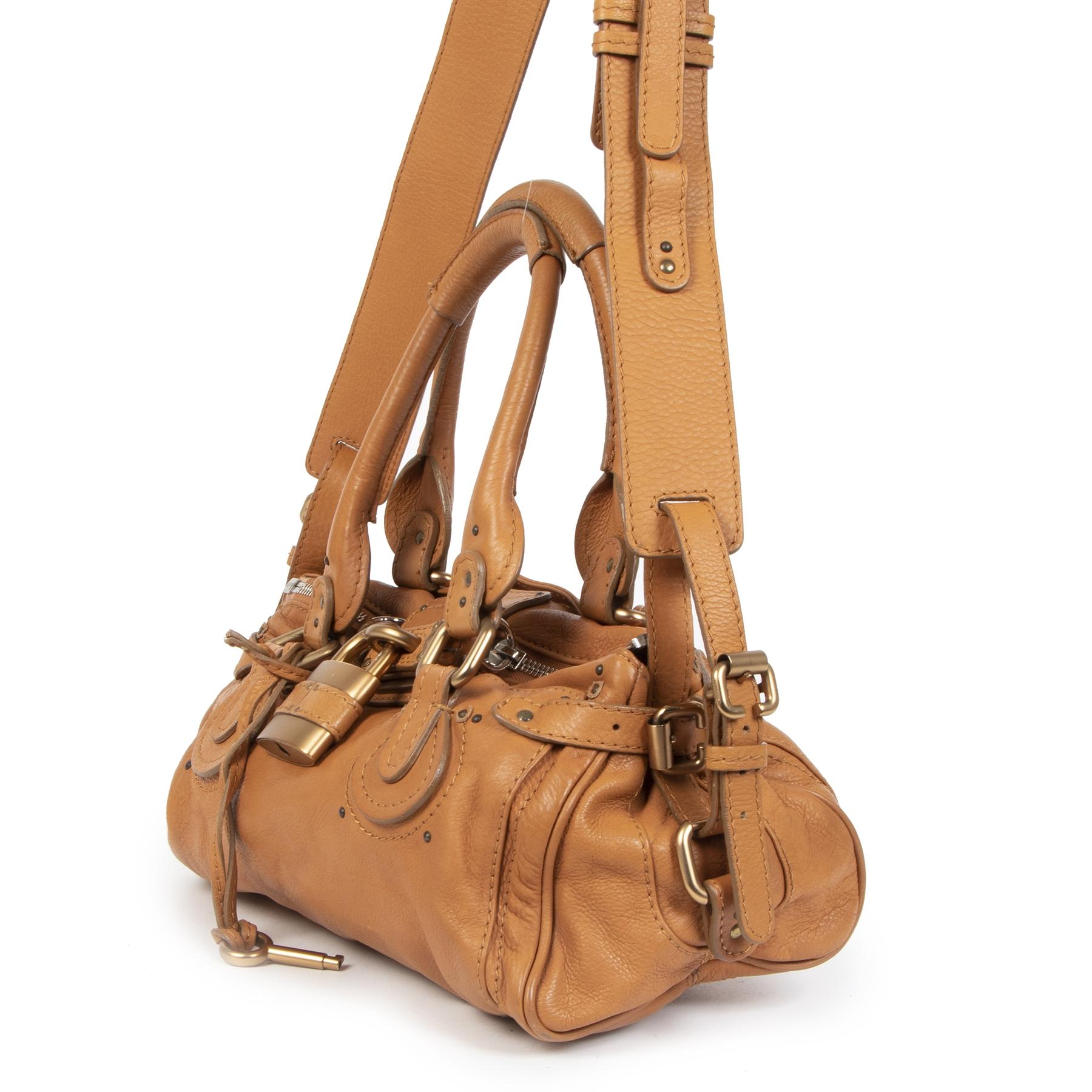 Authentieke Tweedehands Chloé Paddington Aged Cognac Leather Medium Bag juiste prijs veilig online shoppen luxe merken webshop winkelen Antwerpen België mode fashion