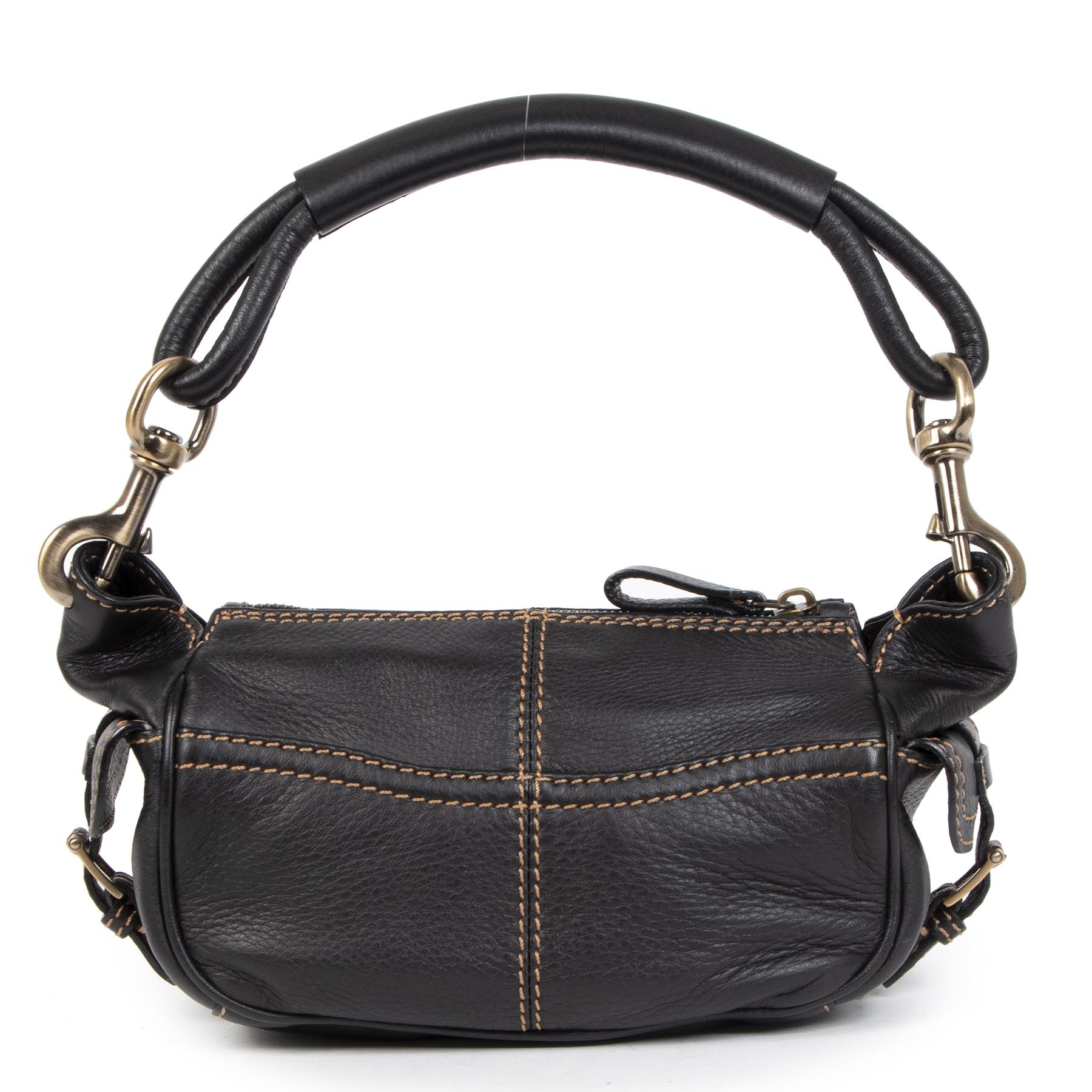 Authentieke Tweedehands Valentino Brown Leather Shoulder Bag Crystal V Logo juiste prijs veilig online shoppen luxe merken webshop winkelen Antwerpen België mode fashion