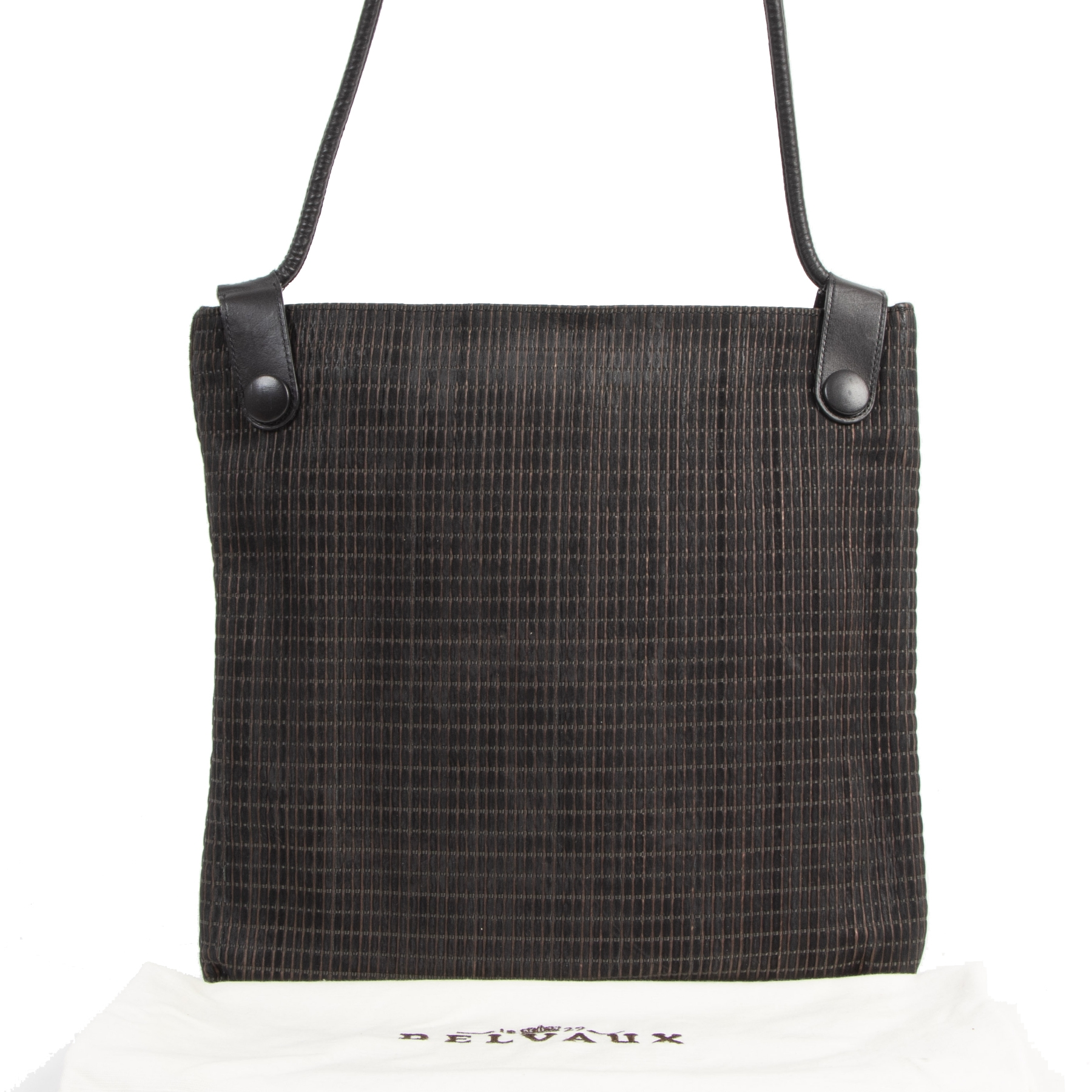 Authentic second-hand vintage Delvaux Dark Brown Woven Leather  buy online webshop LabelLOV