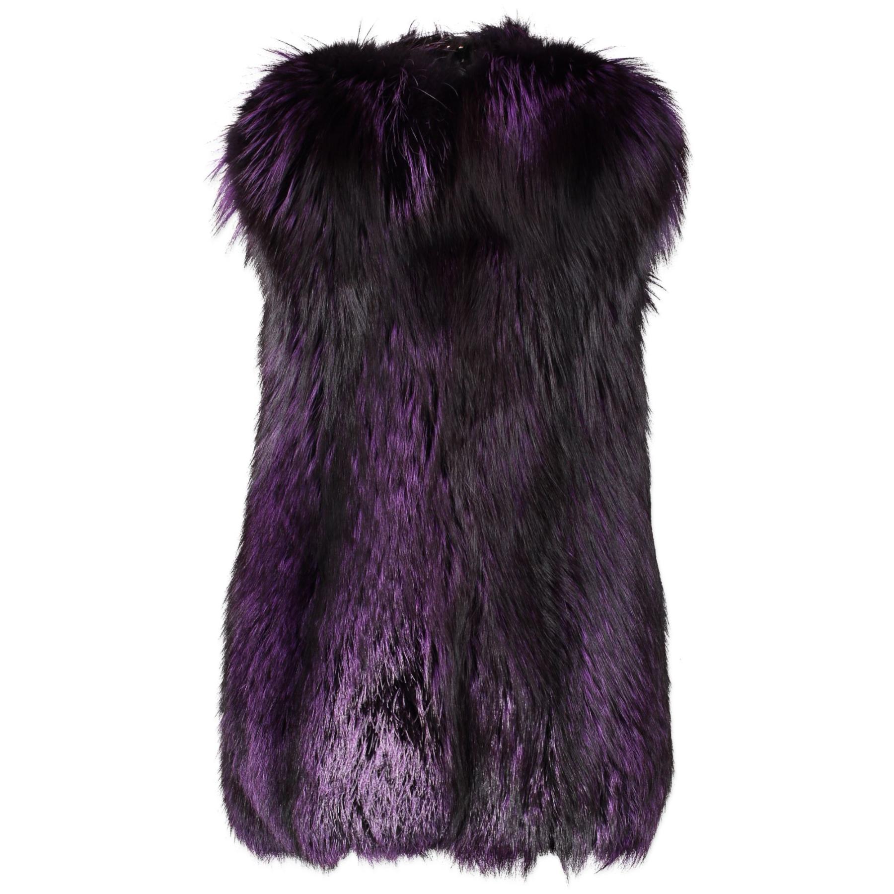 Authentieke Tweedehands Gucci Purple Fur Sleeveless Coat - Size 40 juiste prijs veilig online shoppen luxe merken webshop winkelen Antwerpen Belg