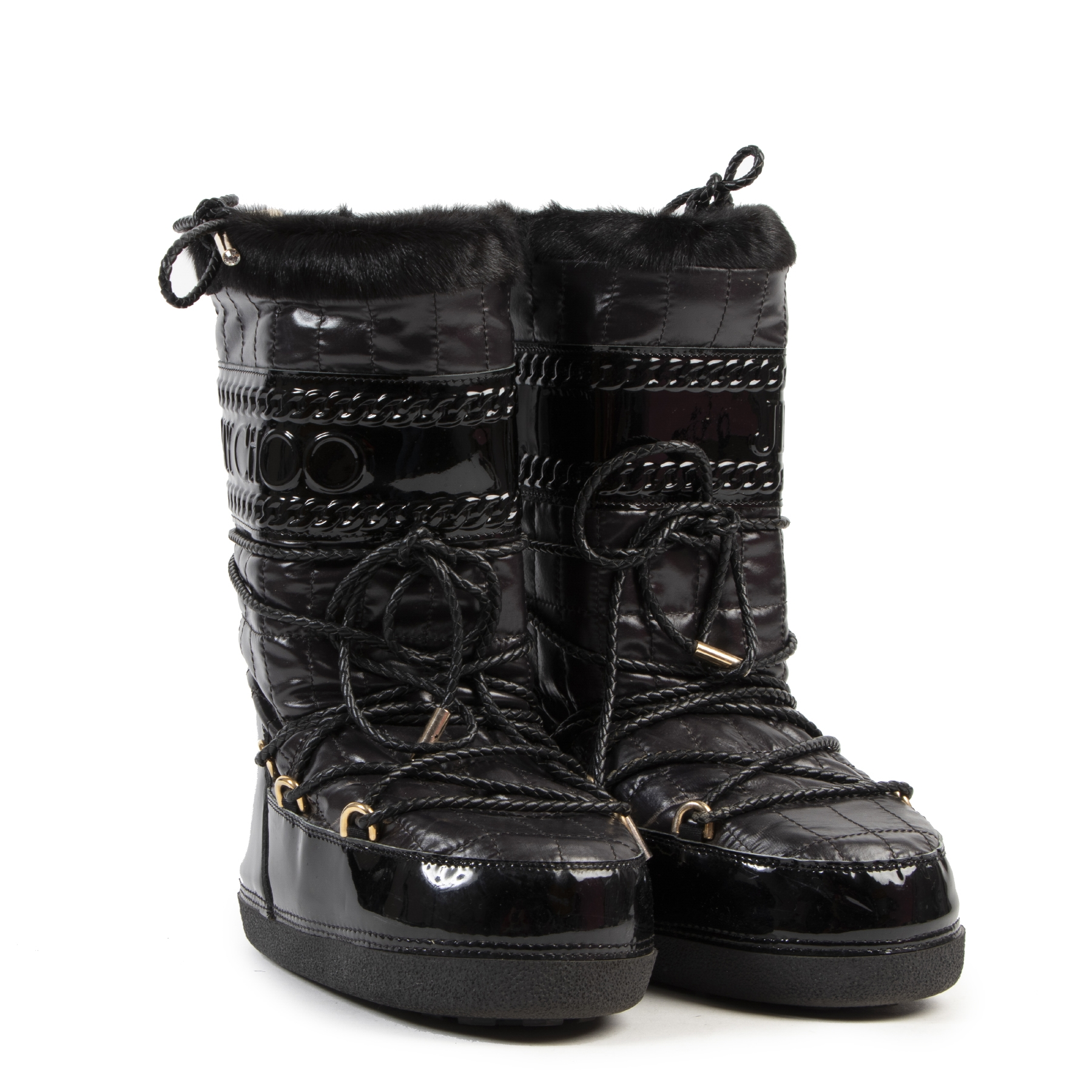 Jimmy Choo Black Patent Moon Boot - Size 38-40