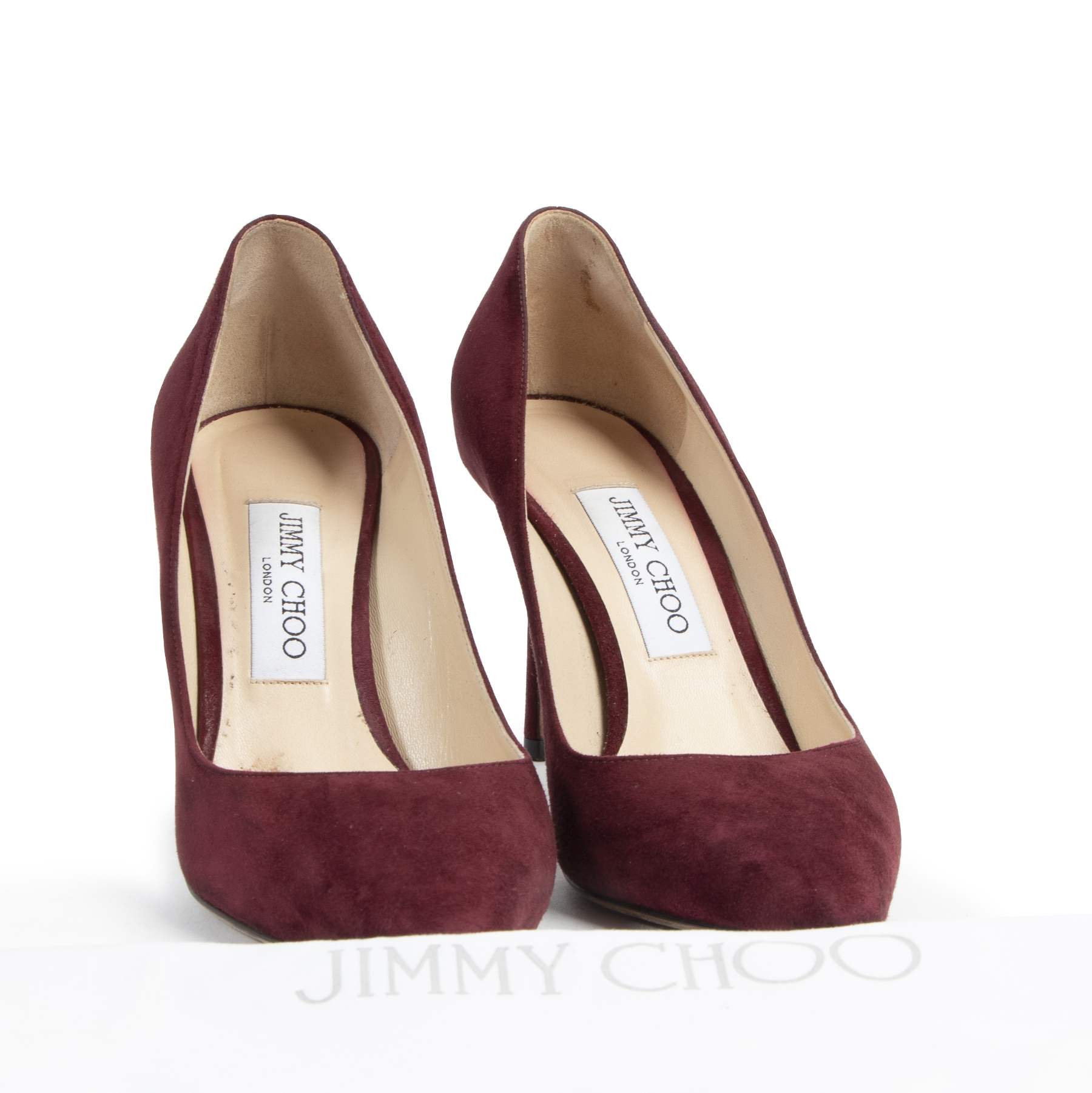 Jimmy Choo Bordeaux Suede Romy Pumps 100% authentic designer bags for the best price