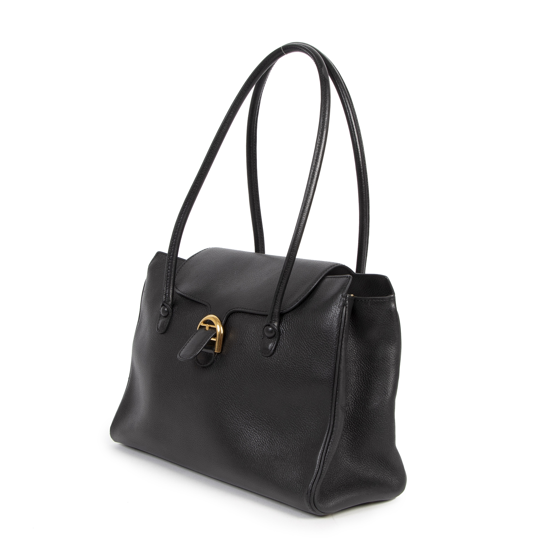 Buy Authentic secondhand Delvaux Black Top Handle Shoulder Bag at the right price safe and secure online at LabelLOV webshop Antwerp Belgium