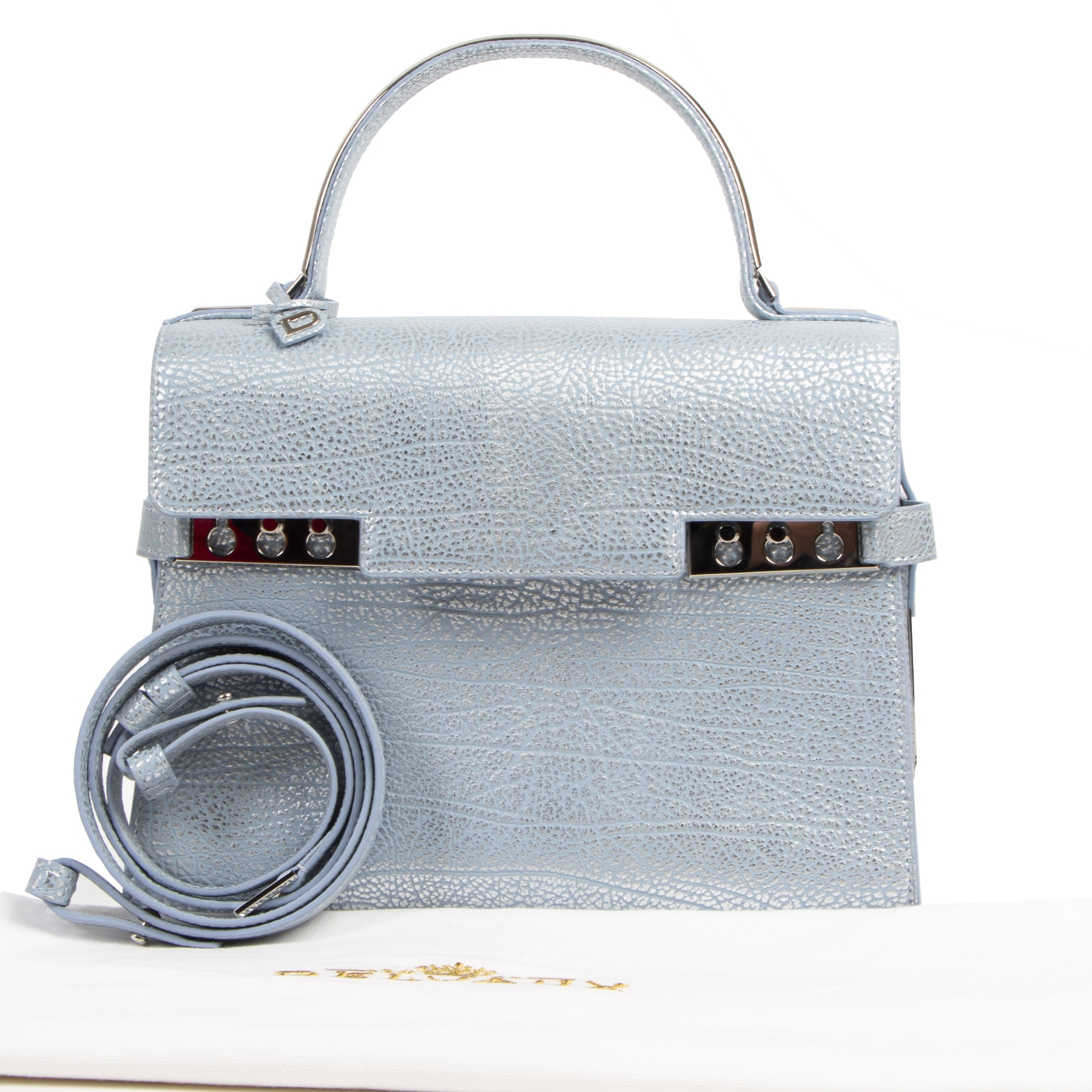 Buy and sell your authentic Delvaux Blue Silver Calf Leather Tempête MM