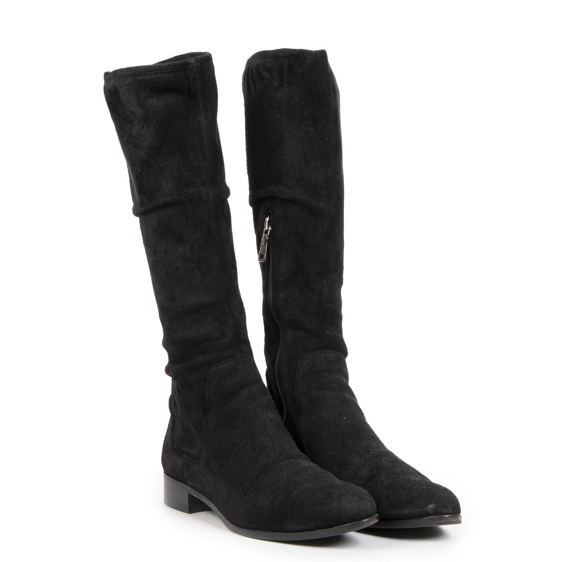 Prada Black Suede Boots - Size 38
