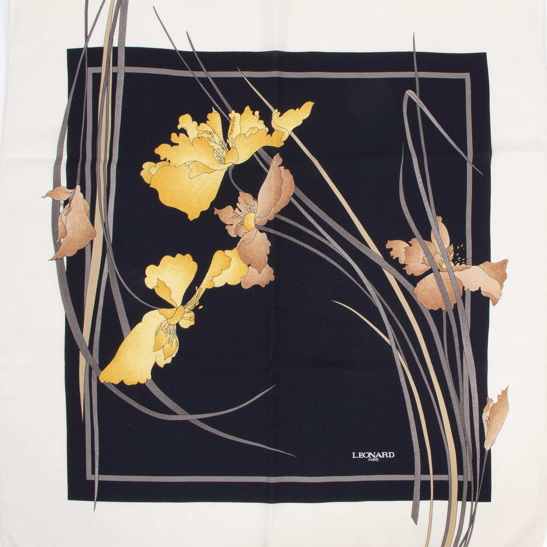 Leonard Black/ Beige  Floral Printed Silk Scarf