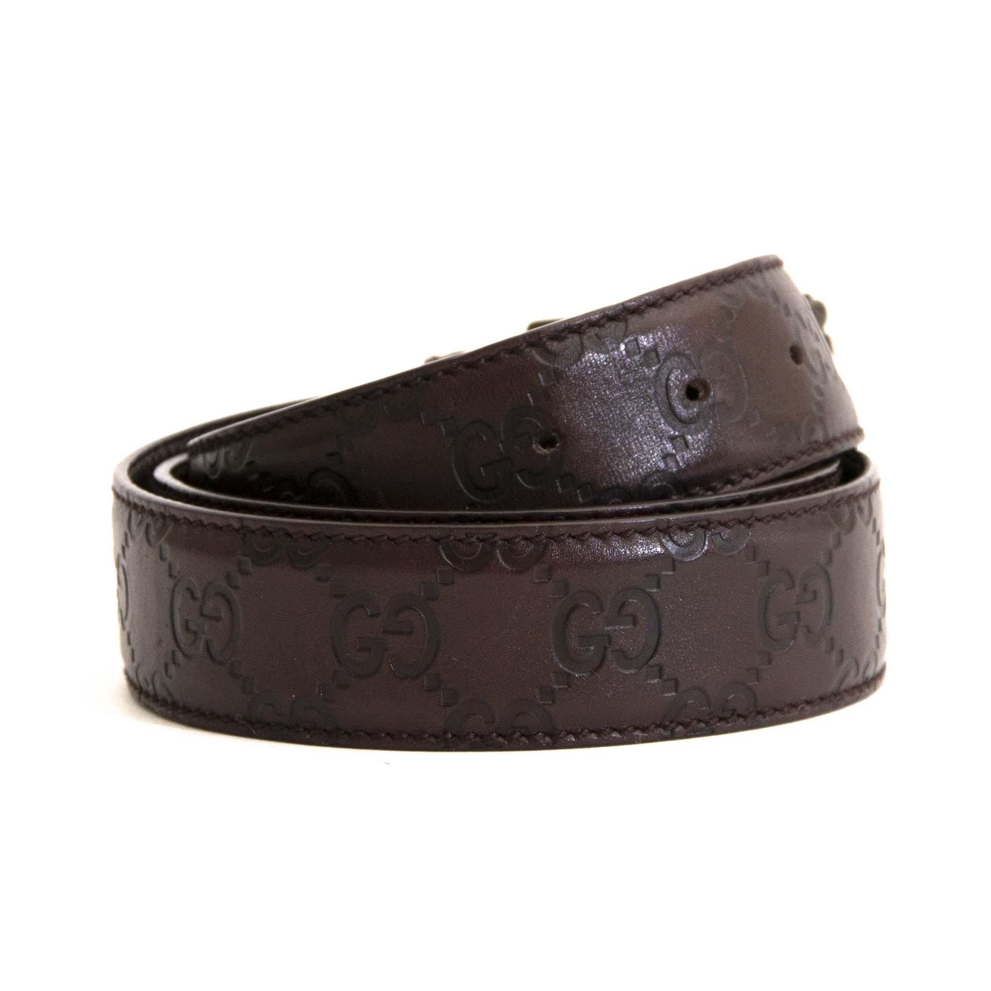 2364b8871f2 ... acheter en ligne seconde main Gucci Dark Brown Leather Logo Belt - Size  95