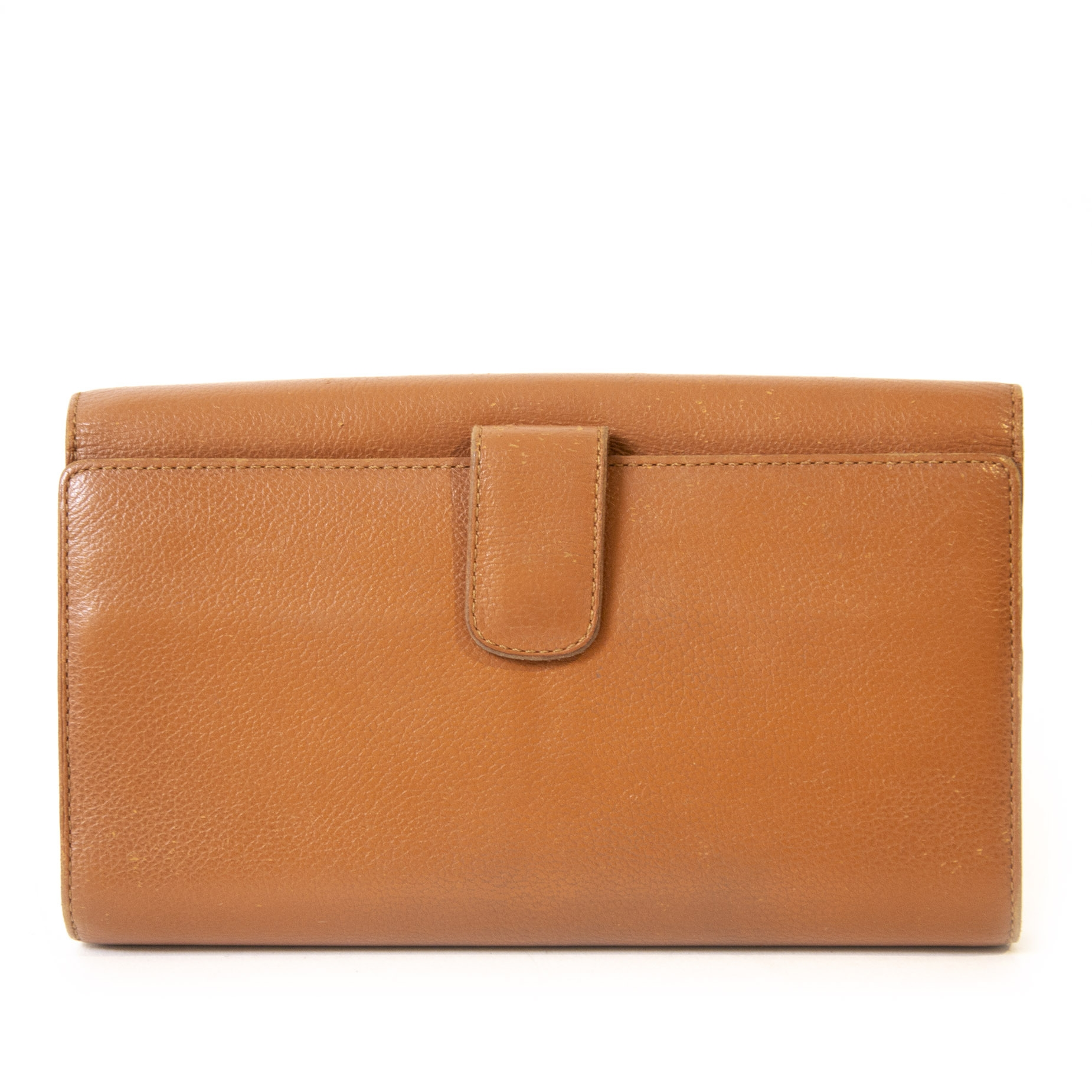 Authentic second-hand vintage Delvaux Camel Lingot Wallet buy online webshop LabelLOV