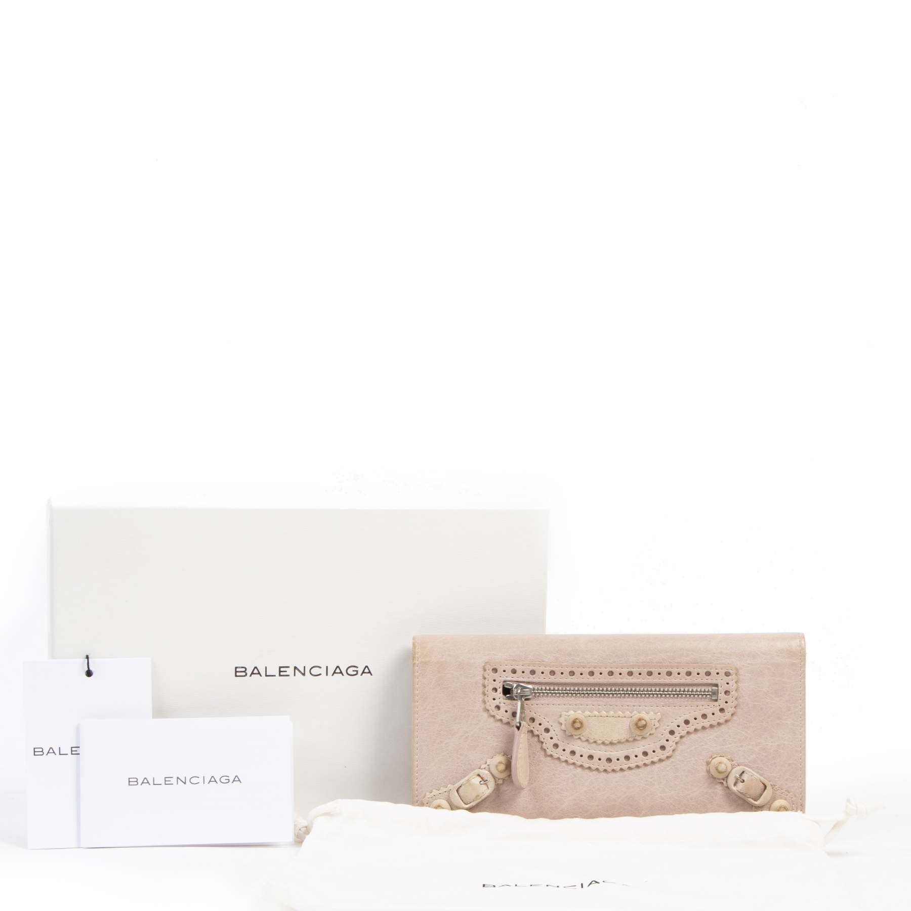 Authentieke tweedehands vintage Balenciaga Pink Leather Continental Zip Around Wallet koop online webshop LabelLOV