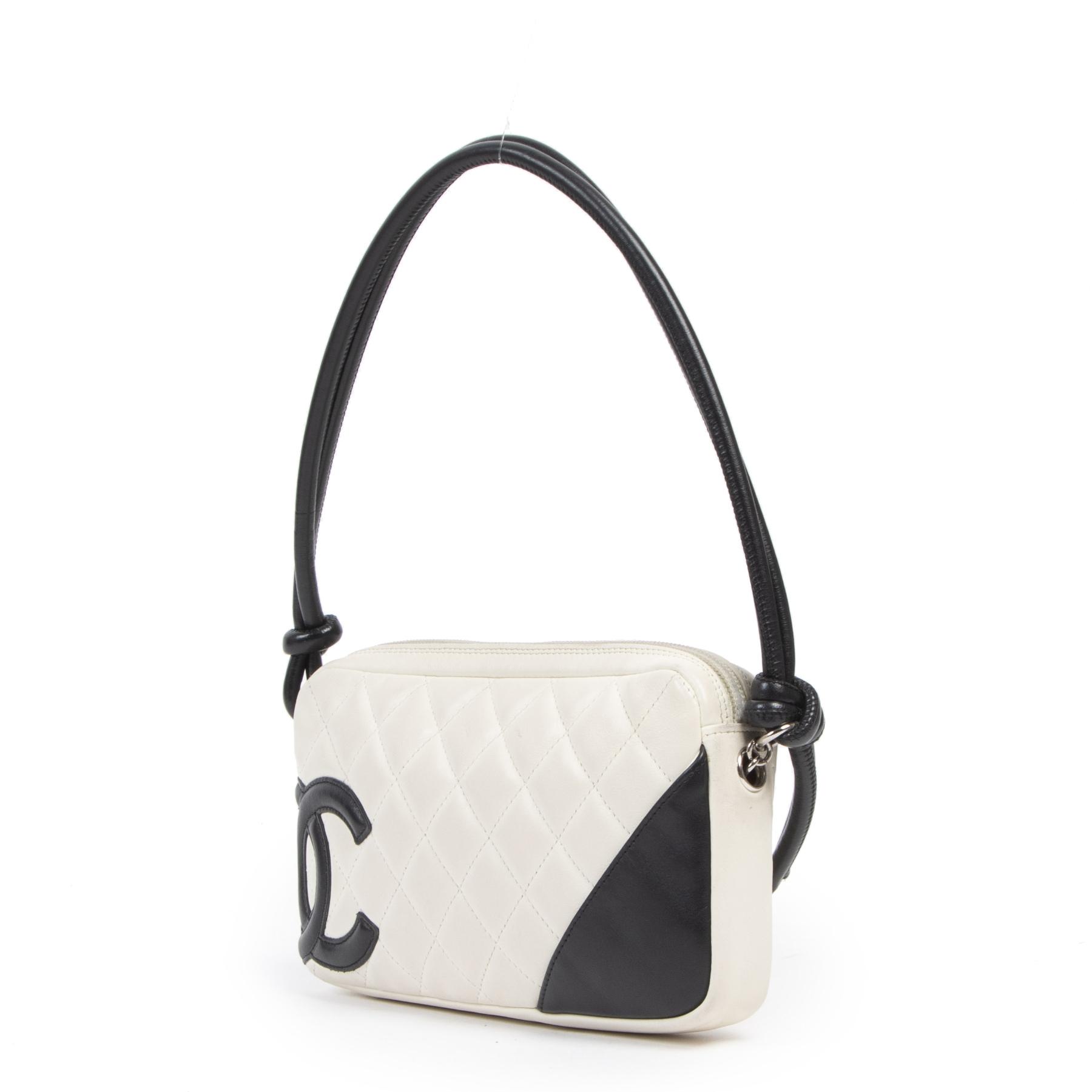 Authentic second-hand vintage Chanel White Cambon Pochette buy online webshop LabelLOV
