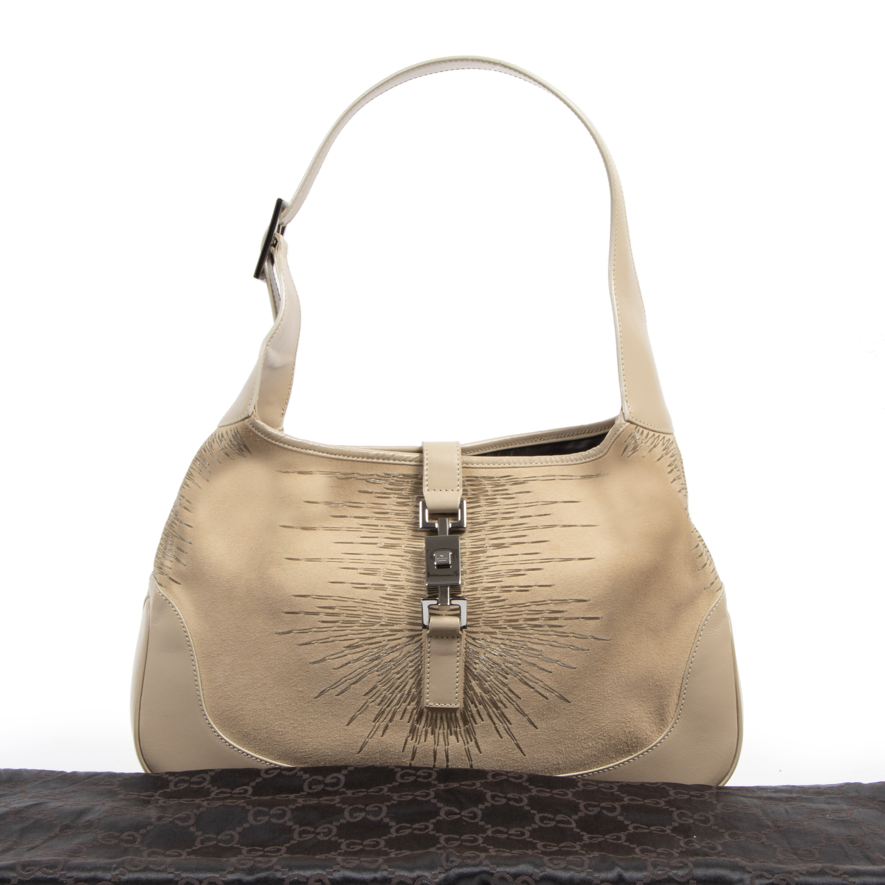 Authentic secondhand Gucci Jackie Beige Suede Shoulder Bag  designer bags fashion luxury vintage webshop safe secure online shopping