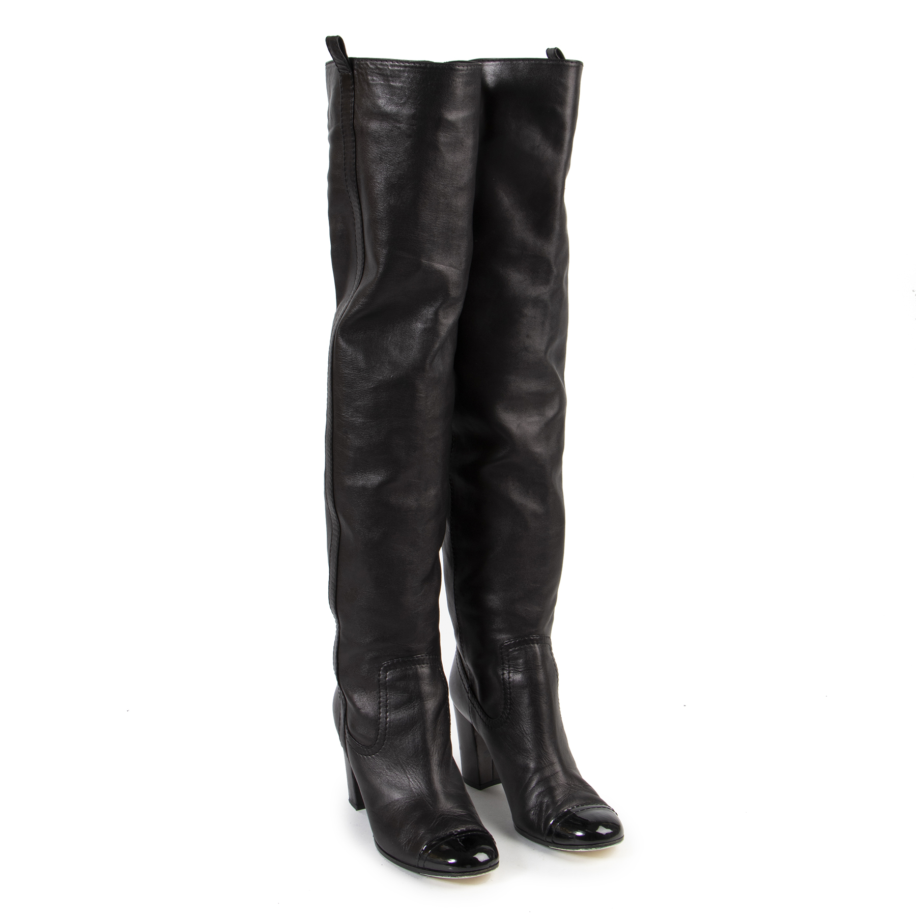 Authentic secondhand Chanel Black Leather Cap Toe Knee Boots - Size 40 designer shoes fashion luxury vintage webshop safe secure online shopping