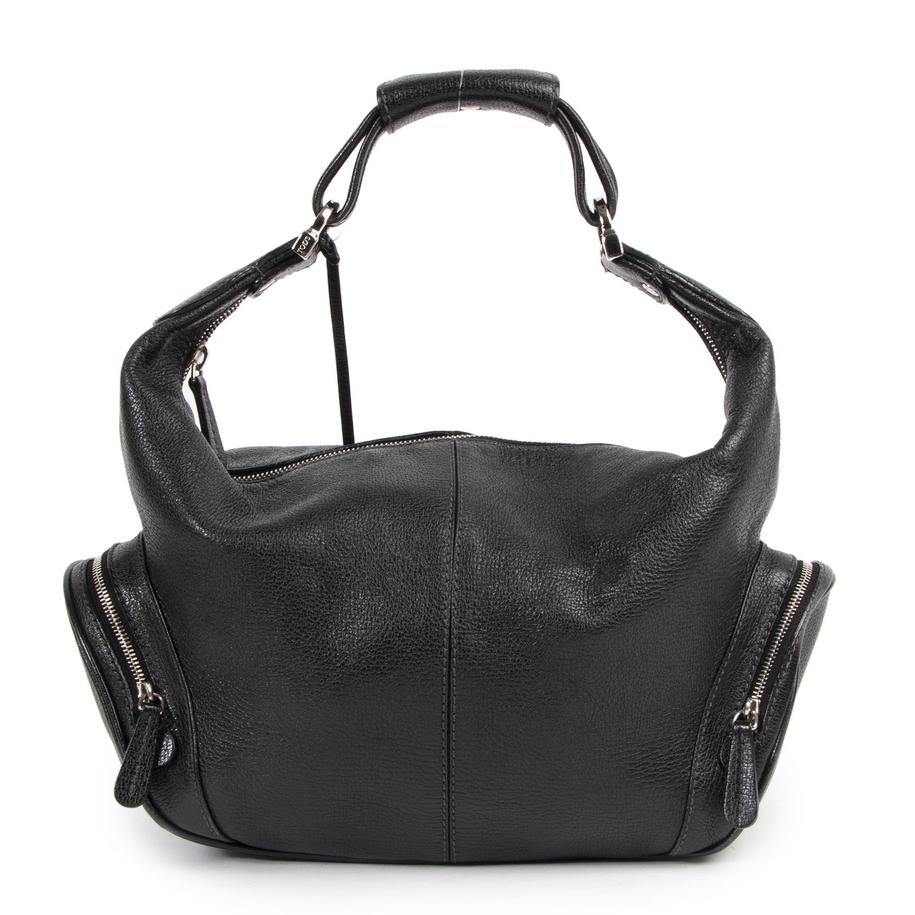 Authentieke Tweedehands Tods Black Leather Zip Shoulder Bag juiste prijs veilig online shoppen luxe merken webshop winkelen Antwerpen België mode fashion