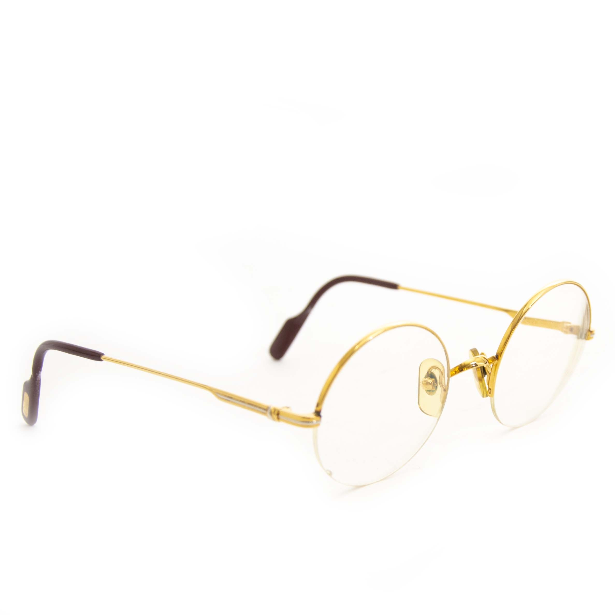 23a11a8860a9 ... Authentic second hand vintage Cartier Mayfair Round Glasses Gold Frame  buy online webshop LabelLOV