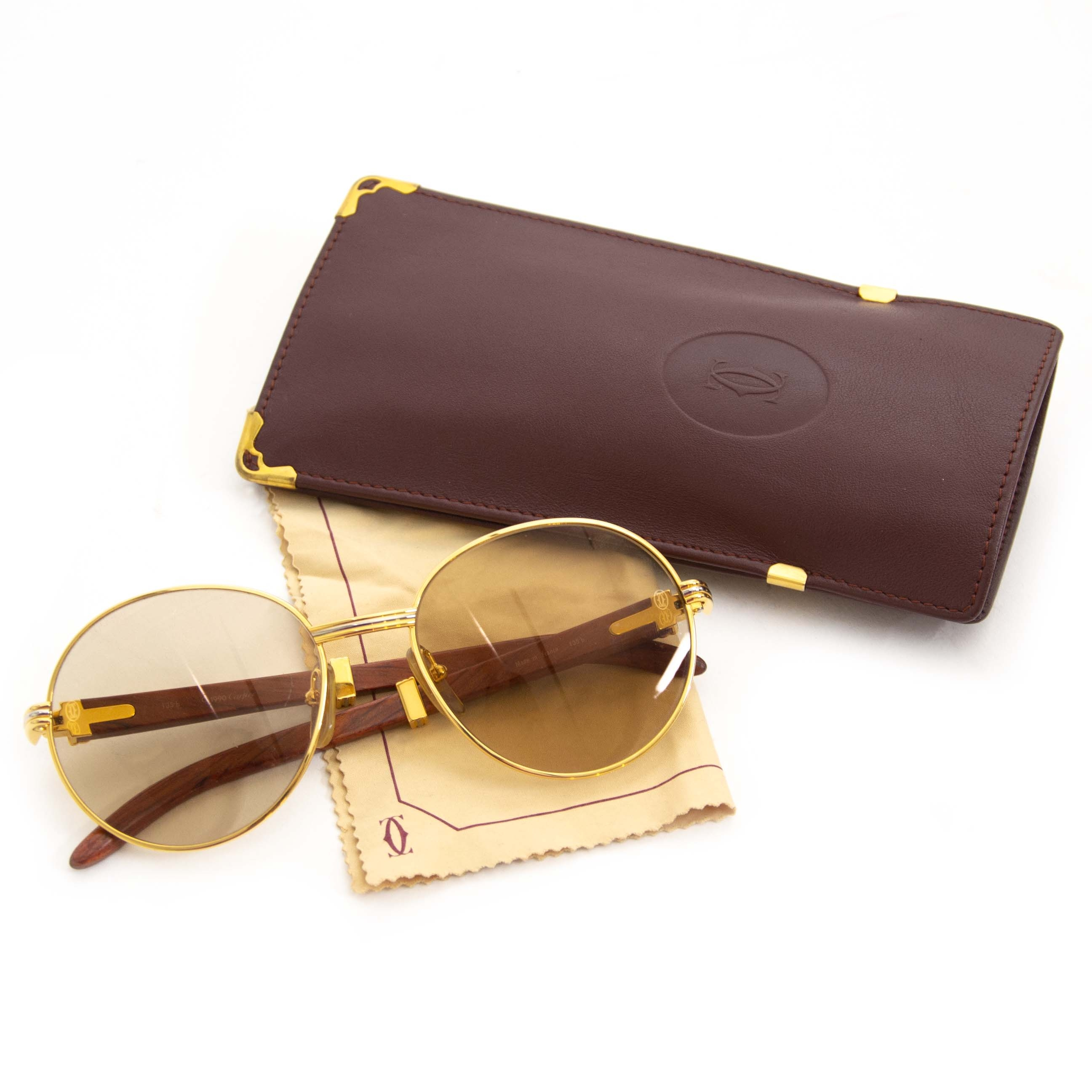 Rare Cartier Giverny Palisander Rosewood Gold Sunglasses for sale online