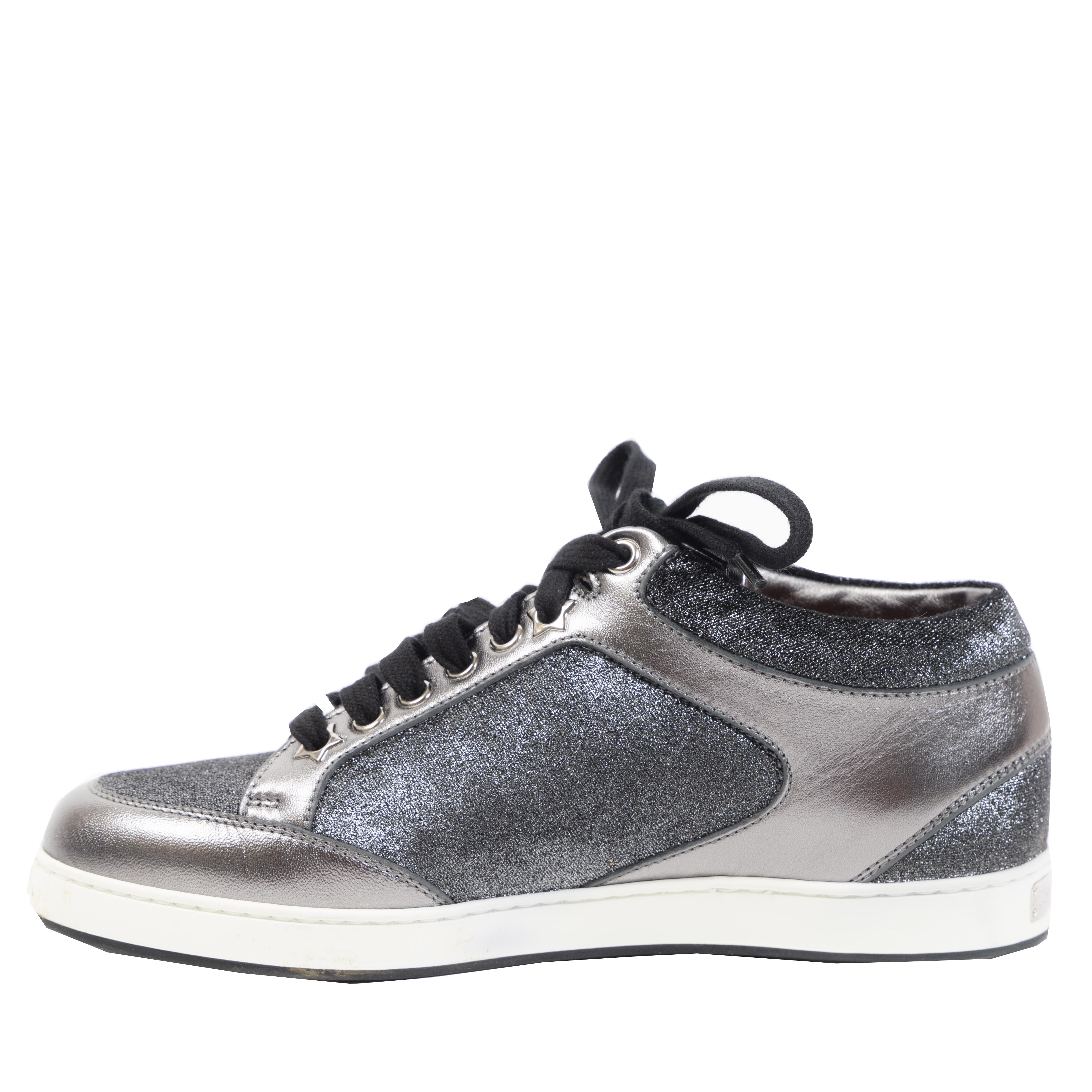 Authentieke Tweedehands Jimmy Choo Anthracite Grey Silver Miami Sneakers juiste prijs veilig online shoppen luxe merken webshop winkelen Antwerpen België mode fashion