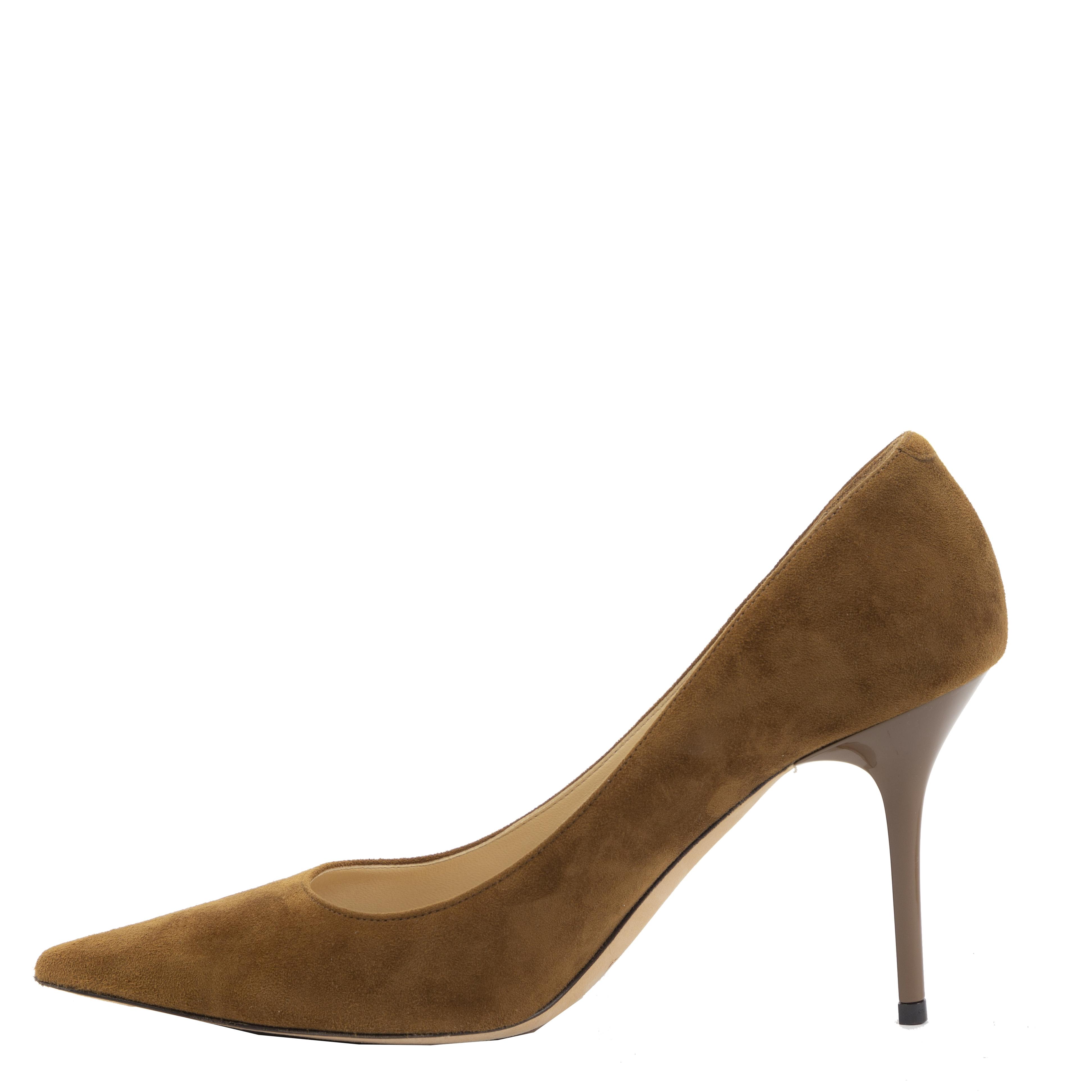 Authentieke Tweedehands Jimmy Choo Brown Suede Agnes Pumps juiste prijs veilig online shoppen luxe merken webshop winkelen Antwerpen België mode fashion