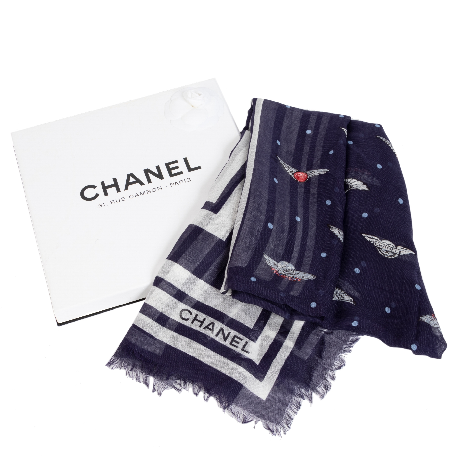 Buy and sell your 100% authentic Chanel Blue Polka Dot Airlines Logo Mondal Scarf