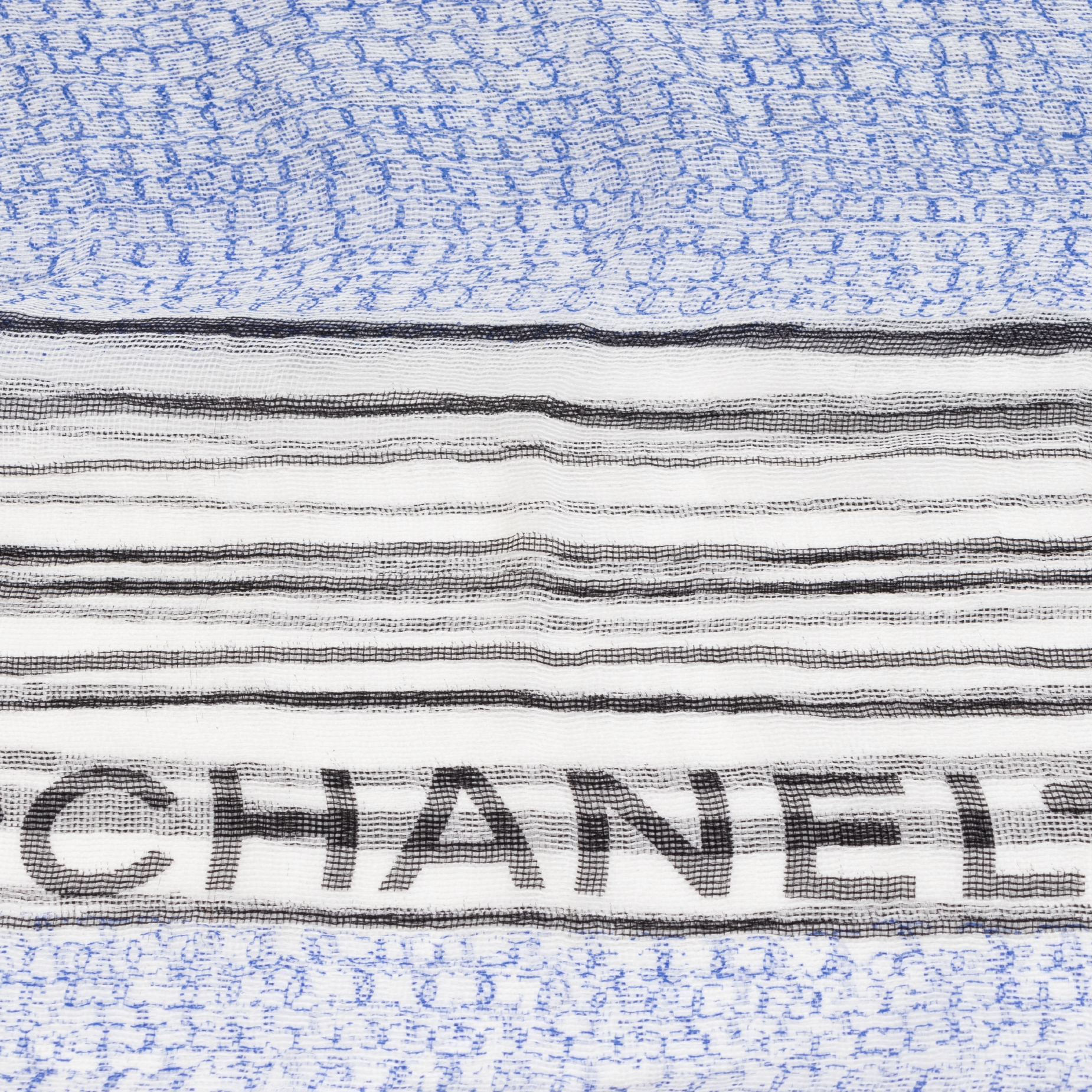 Chanel Silk Mousseline CC Logo Stripe Scarf