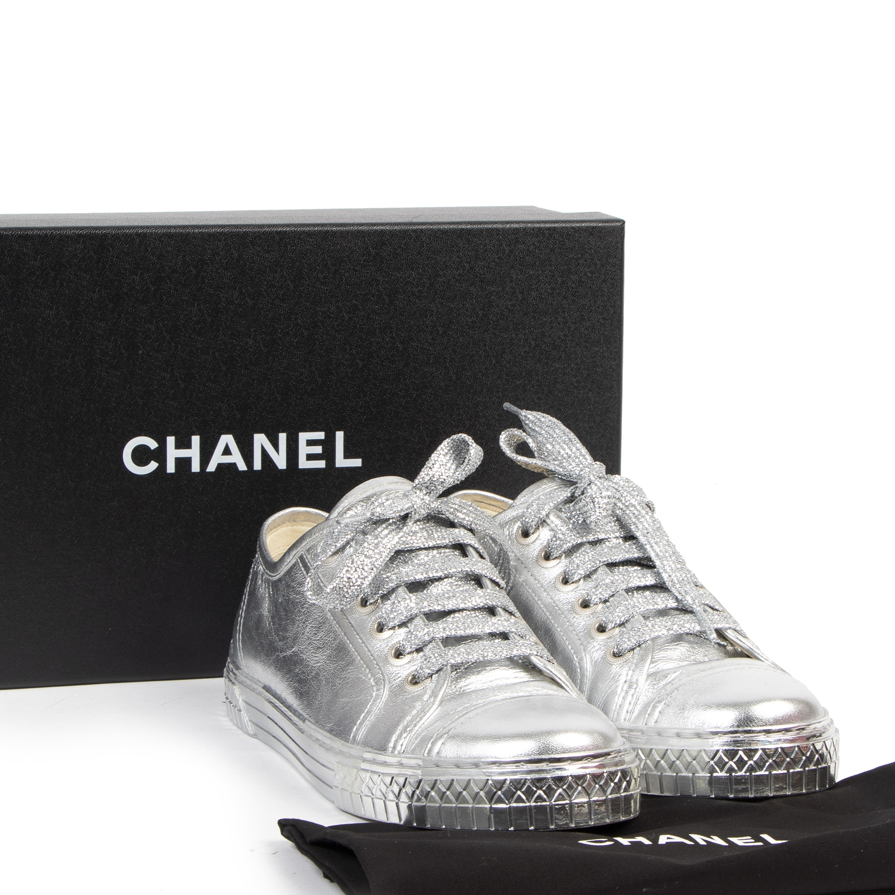 Chanel Silver Leather Sneakers - size 36.5 - for the best price at labellov