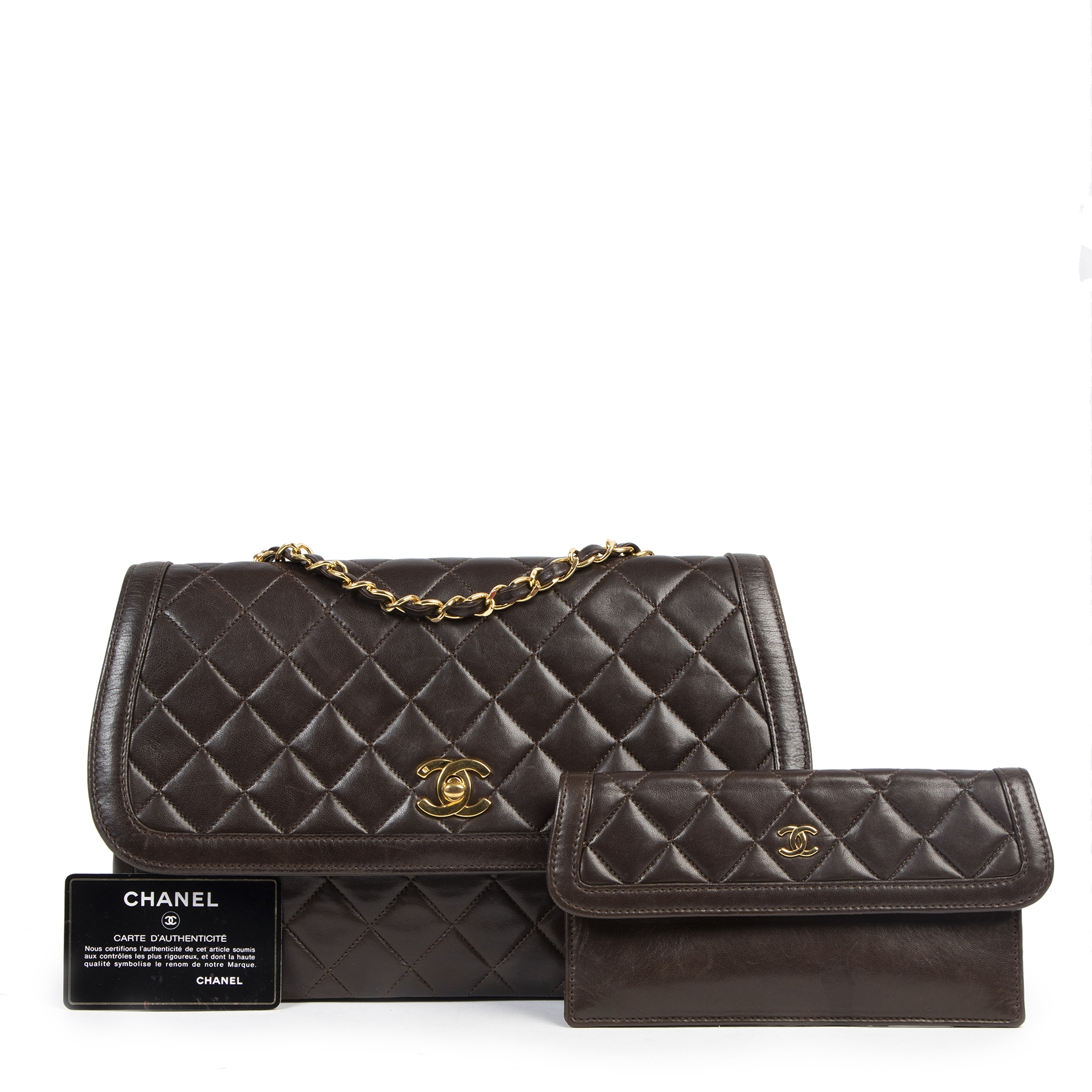 Chanel Vintage Brown Quilted Flap Bag fir the best price online