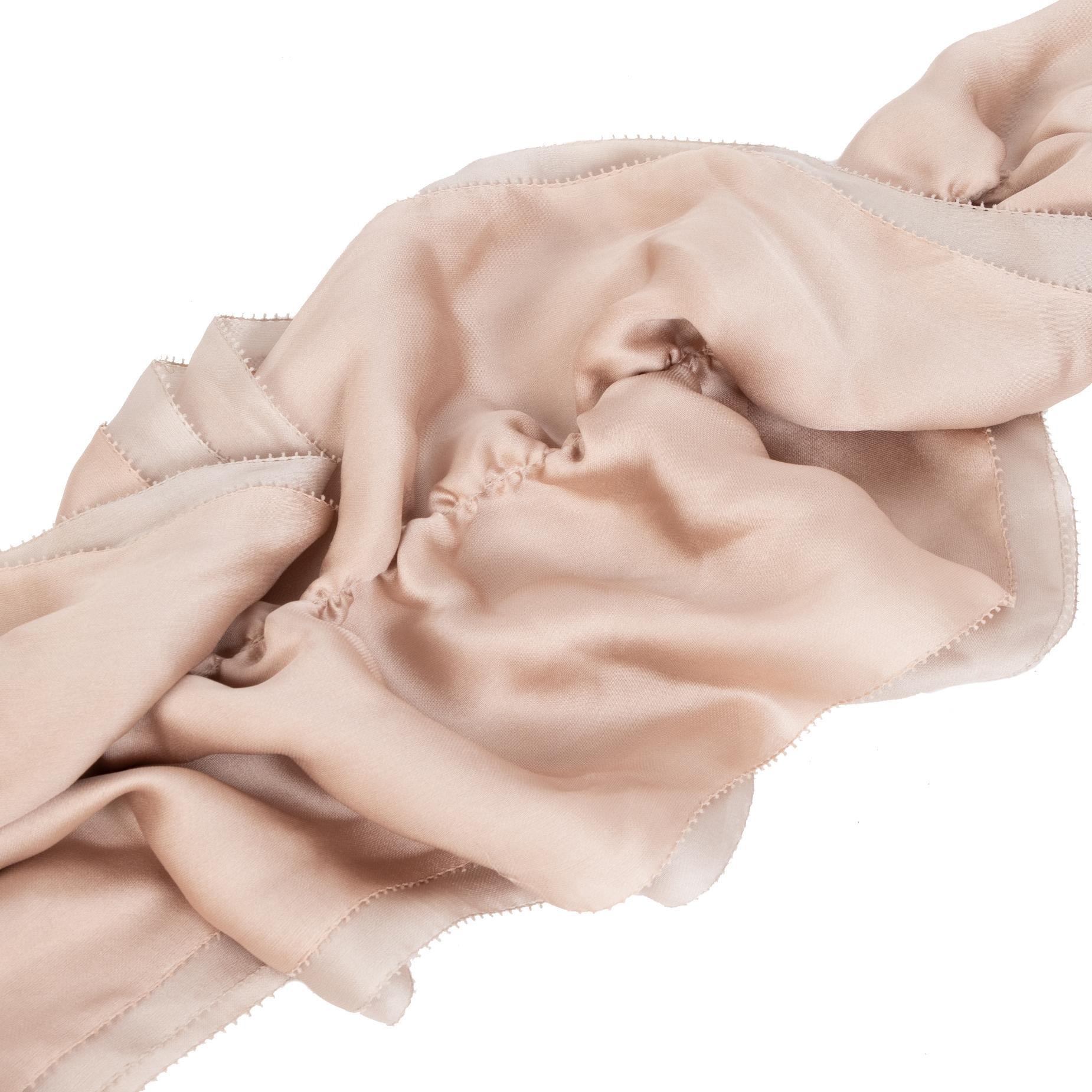 Ralph Lauren Soft Beige/ Pink Silk Ruffle Scarf