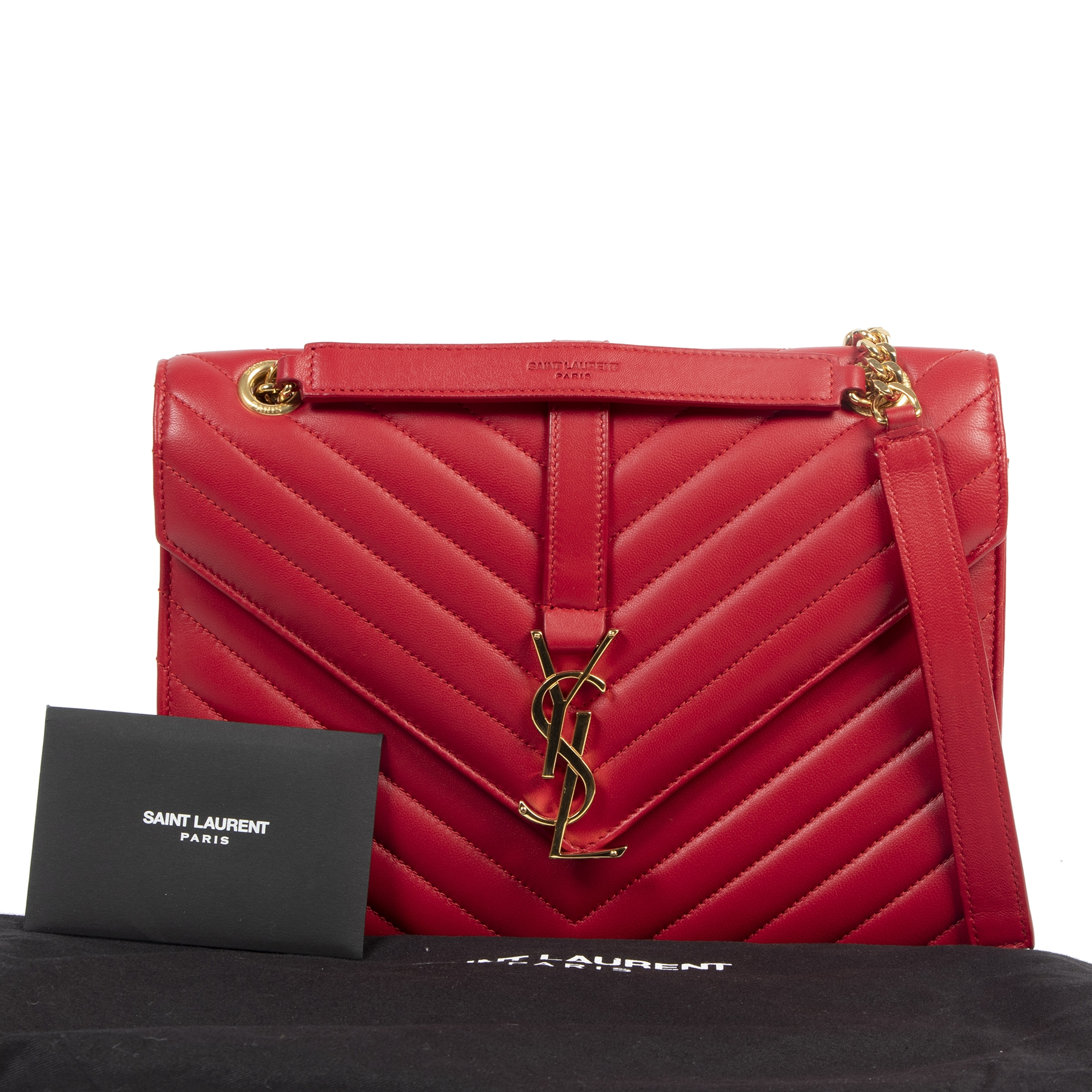 Saint Laurent Envelope Medium Red Leather Bag