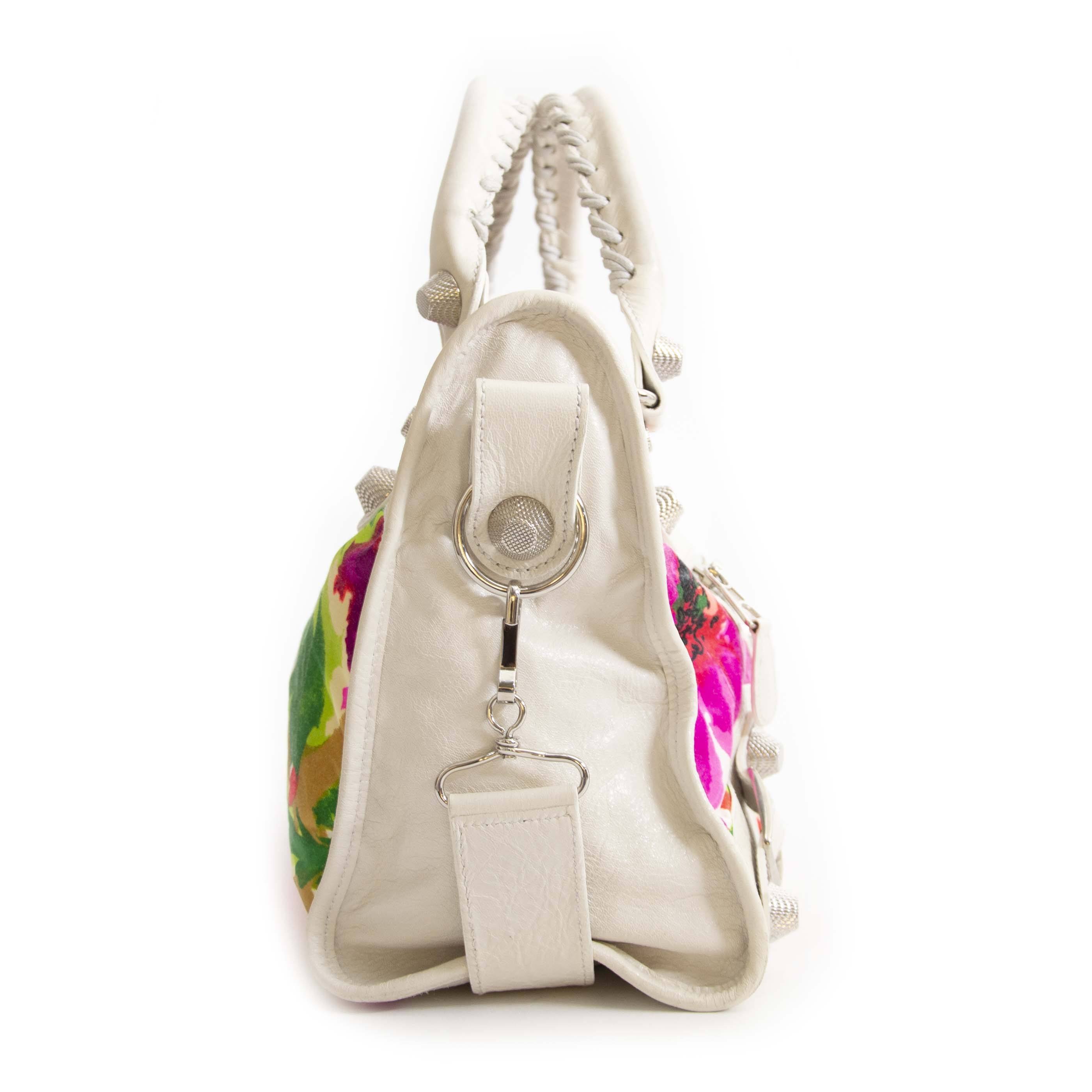 Authentieke tweedehands vintage Balenciaga Floral Limited Edition City Bag online shopping webshop LabelLOV