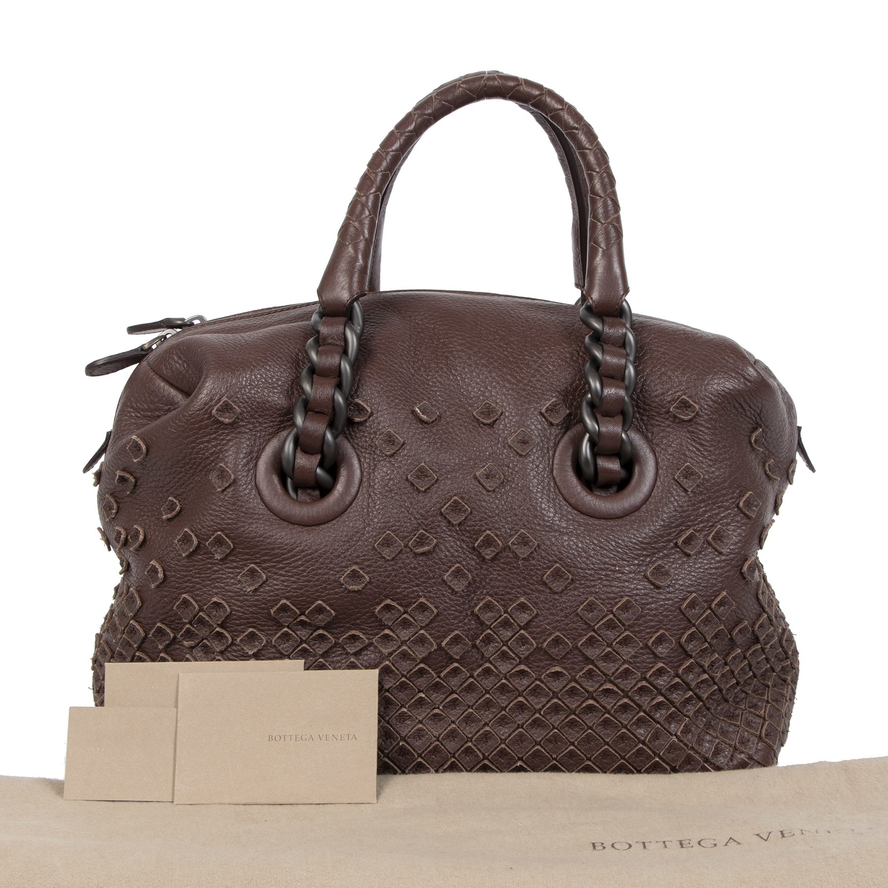 Authentique seconde-main vintage Bottega Veneta Intorechato Mini Boston Top Handle Bag Dark Brown Deer  achète en ligne webshop LabelLOV