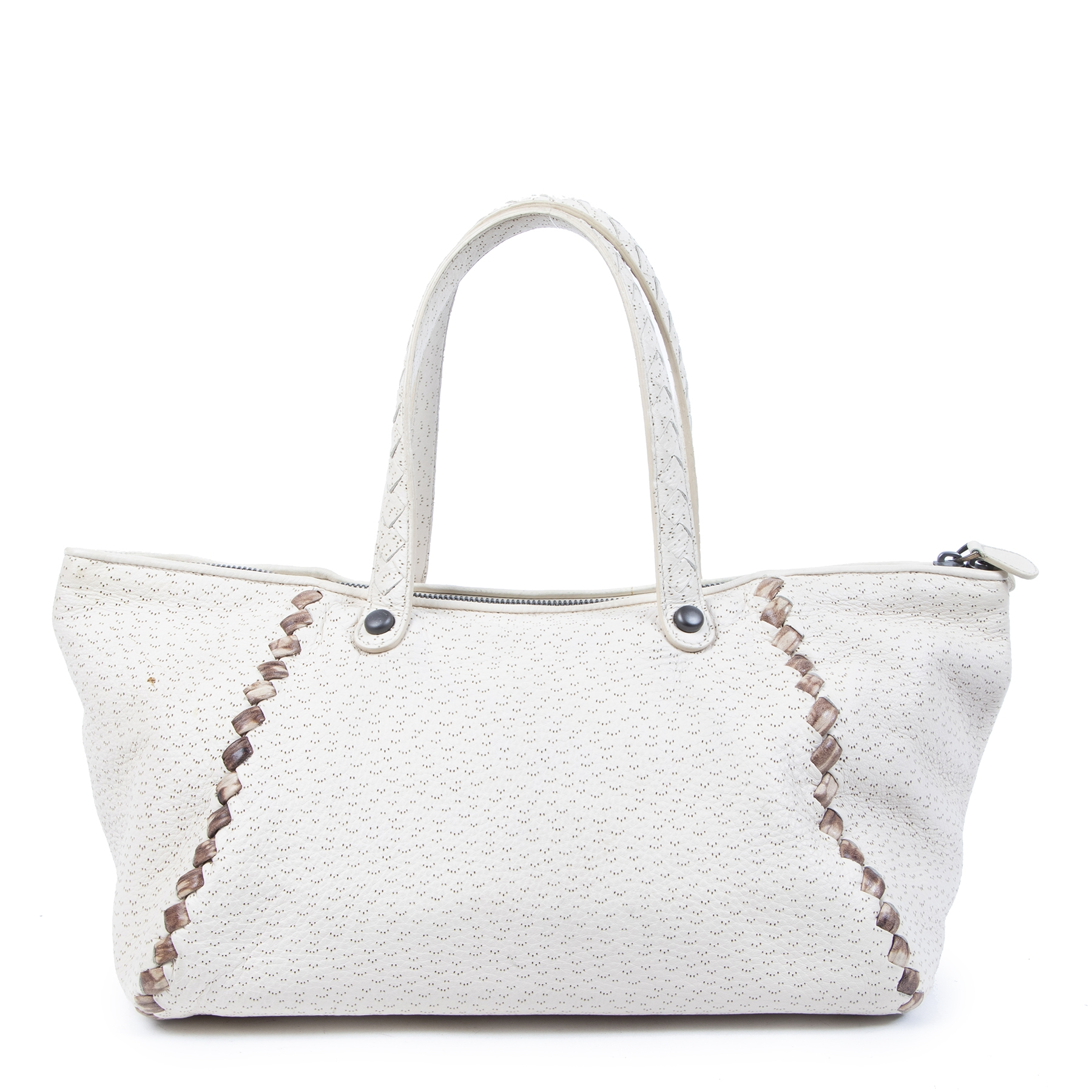 Authentic second-hand vintage Bottega Veneta Cream Cervo Deerskin Perforated Zip Tote buy online webshop LabelLOV