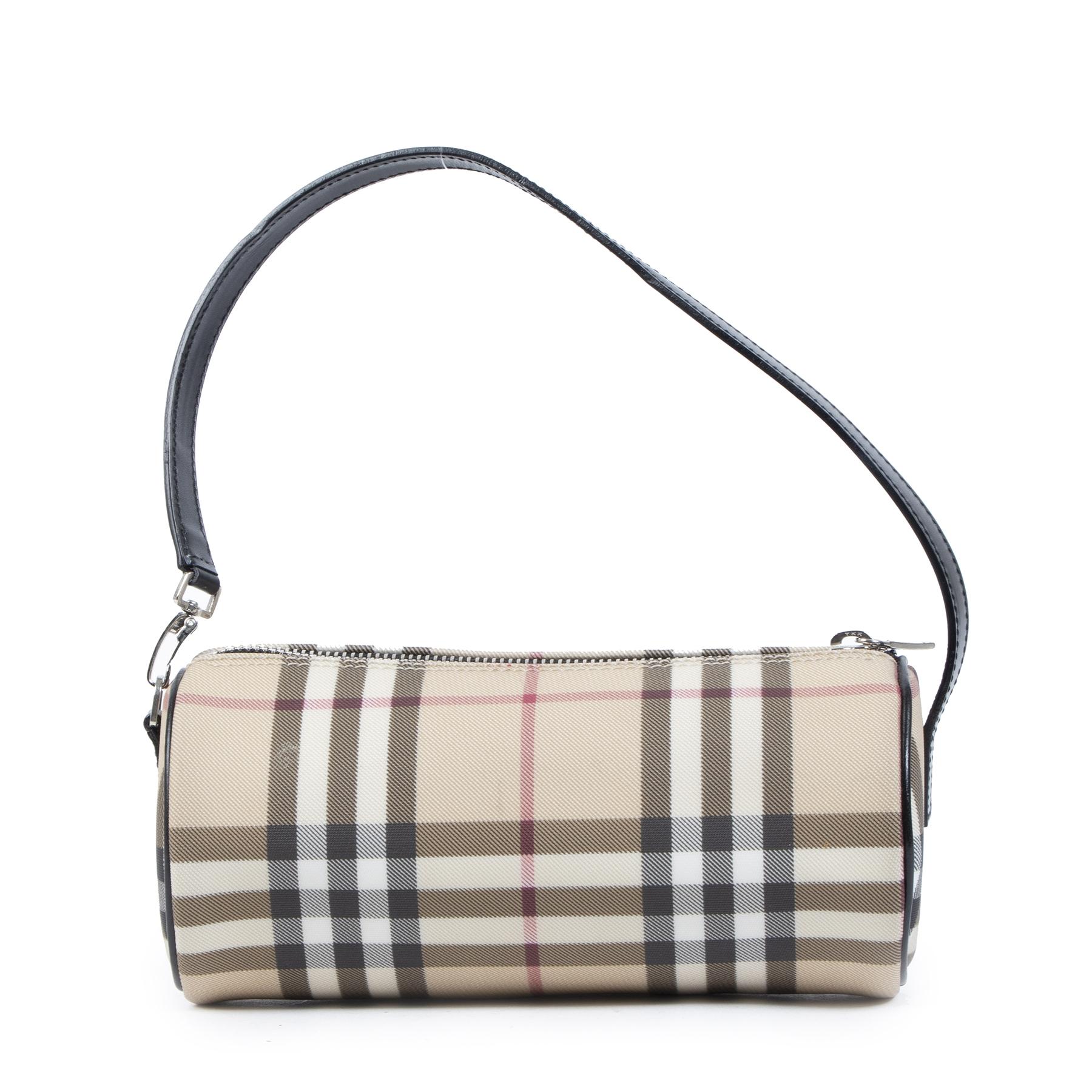 Authentieke Tweedehands Burberry London Nova Check Cylinder Bag juiste prijs veilig online shoppen luxe merken webshop winkelen Antwerpen België mode fashion