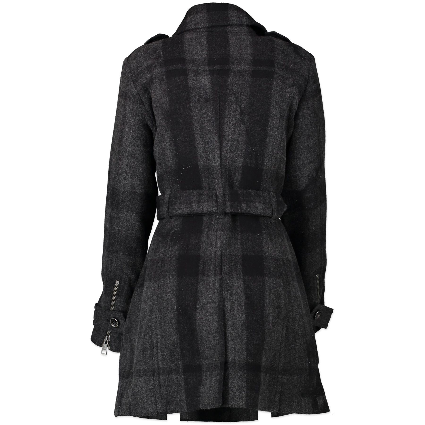 Koop Tweedehands Burberry Brit Grey Cotton/Wool Bentham Belted Coat - Size 38 aan de juiste prijs in alle veiligheid online bij LabelLOV webshop Antwerpen België