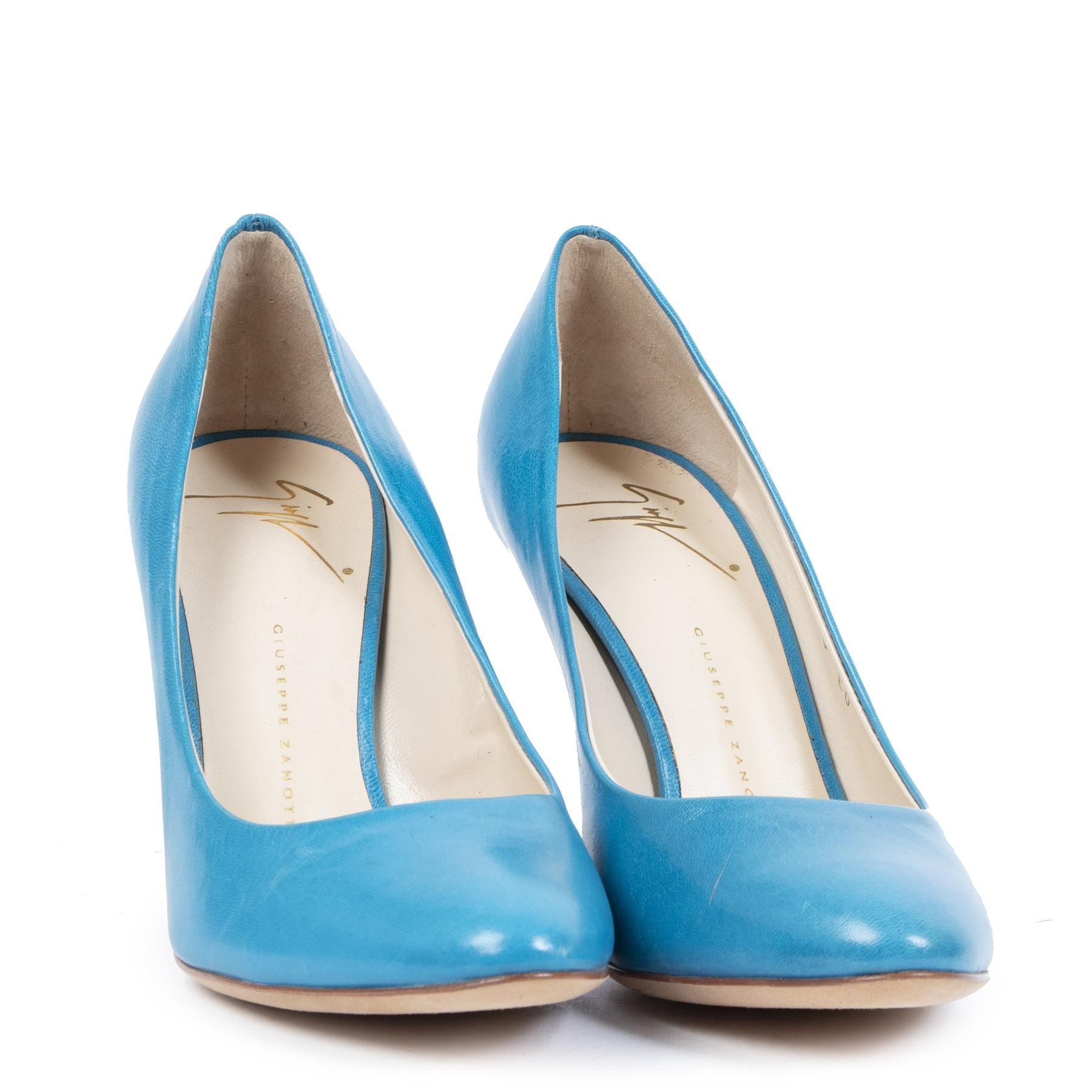 Authentieke Tweedehands Giuseppe Zanotti Turquoise Heels - size 36 juiste prijs veilig online shoppen schoenen hakken vintage online webshop luxe mode fashion designer schoenen veilig online betalen winkelen Antwerpen België