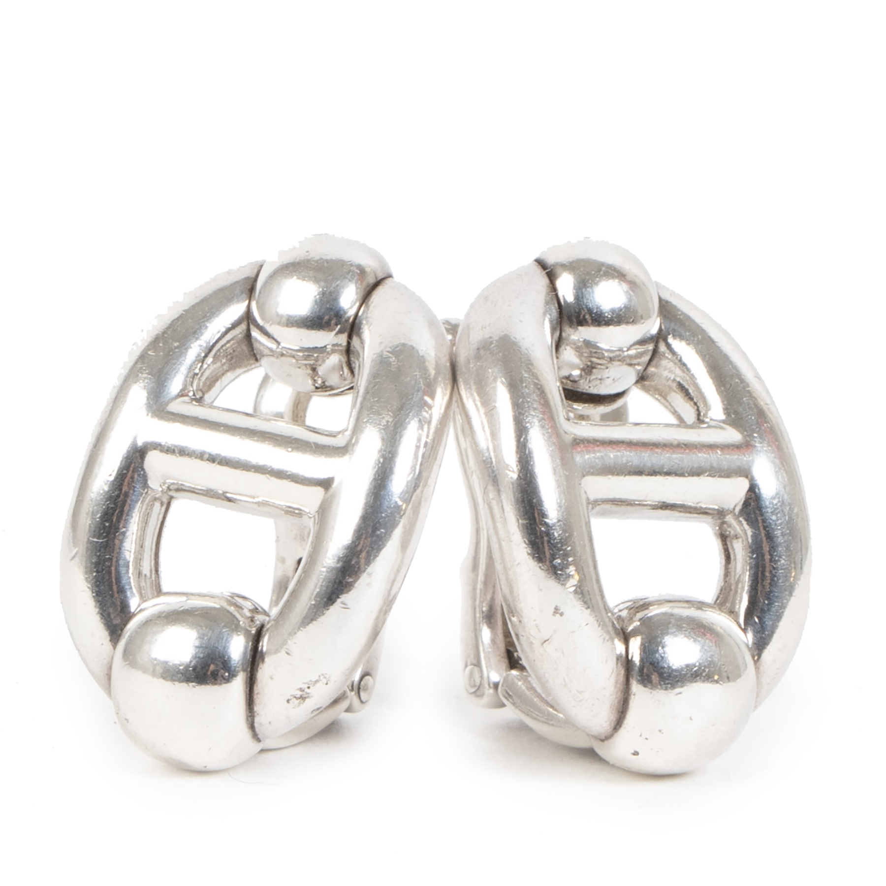 Authentieke Tweedehands Hérmes Chaine D'Ancre Sterling Silver Clip On Earring juiste prijs veilig online shoppen luxe merken webshop winkelen Antwerpen België mode fashion