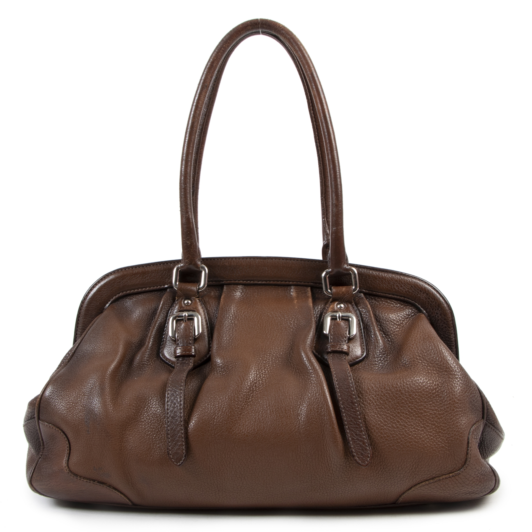 acheteter en linge seconde main Prada Brown Two Tone Leather Frame Bag