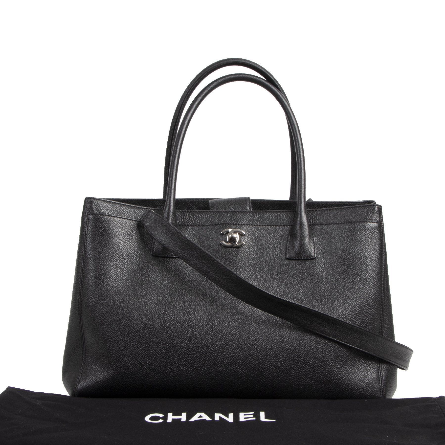 Authentieke tweedehands vintage Chanel Black Leather Executive Tote koop online webshop LabeLOV