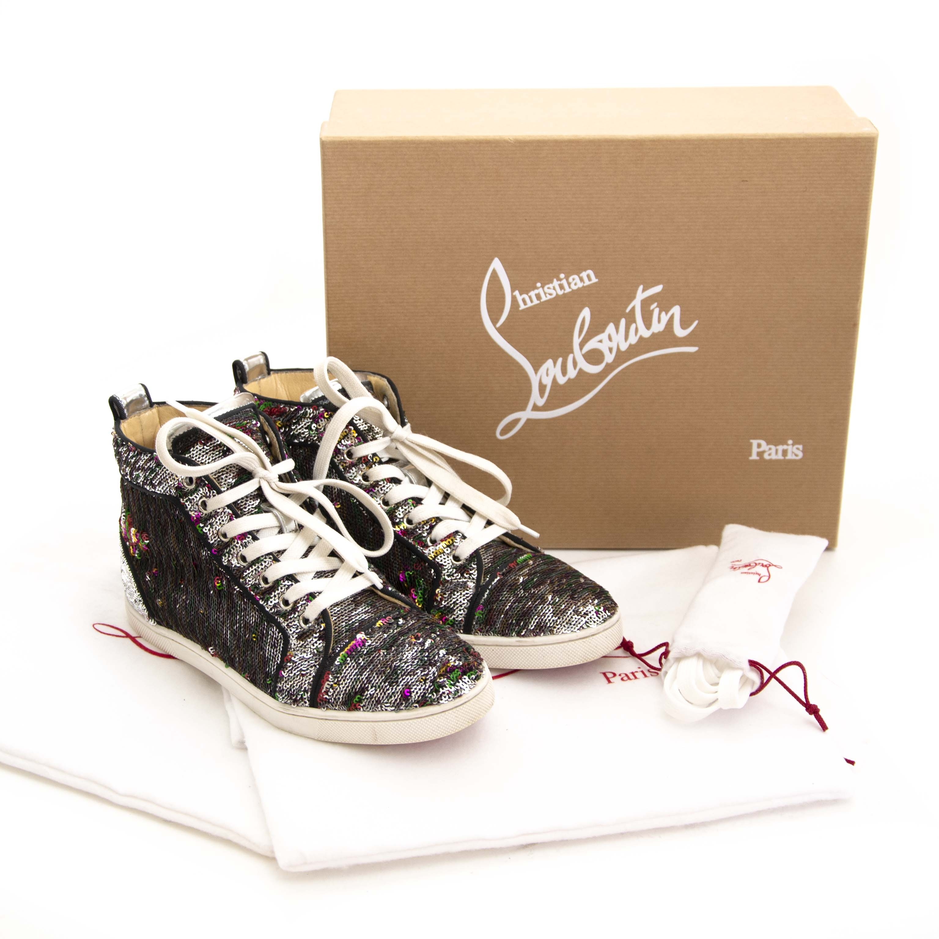 43190979b739 Buy authentic second hand vintage Louboutin Bip Bip Silver Sequin Sneakers  at online webshop LabelLOV.