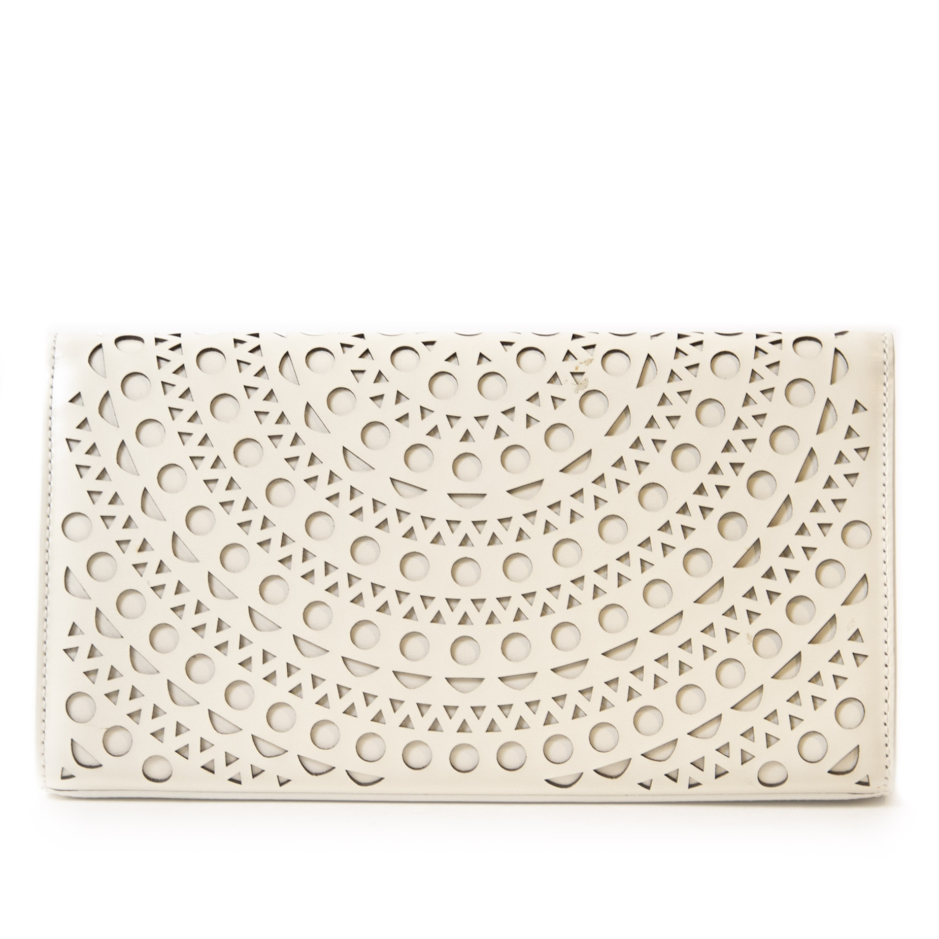 Authentieke tweedehands vintage Alaïa White Clutch Bag koop online webshop LabelLOV