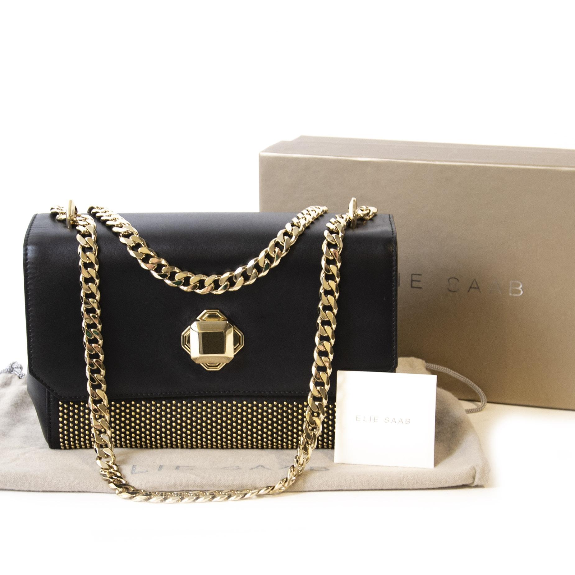 Authentieke tweedehands vintage Elie Saab Black Studded Crossbody Bag koop online webshop LabelLOV