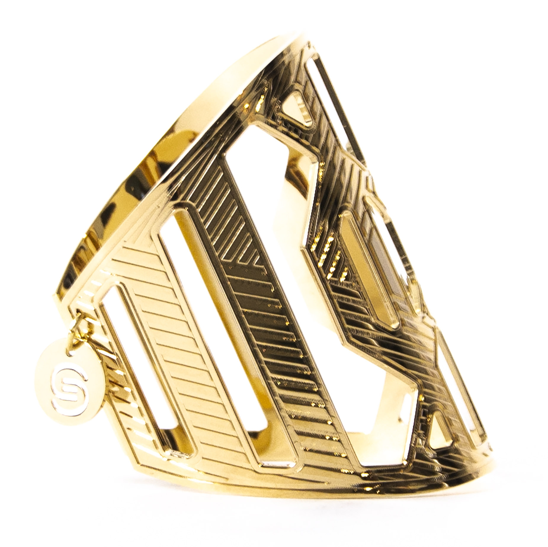Authentique seconde main vintage Elie Saab Gold Cutout Bangle achète en ligne webshop LabelLOV