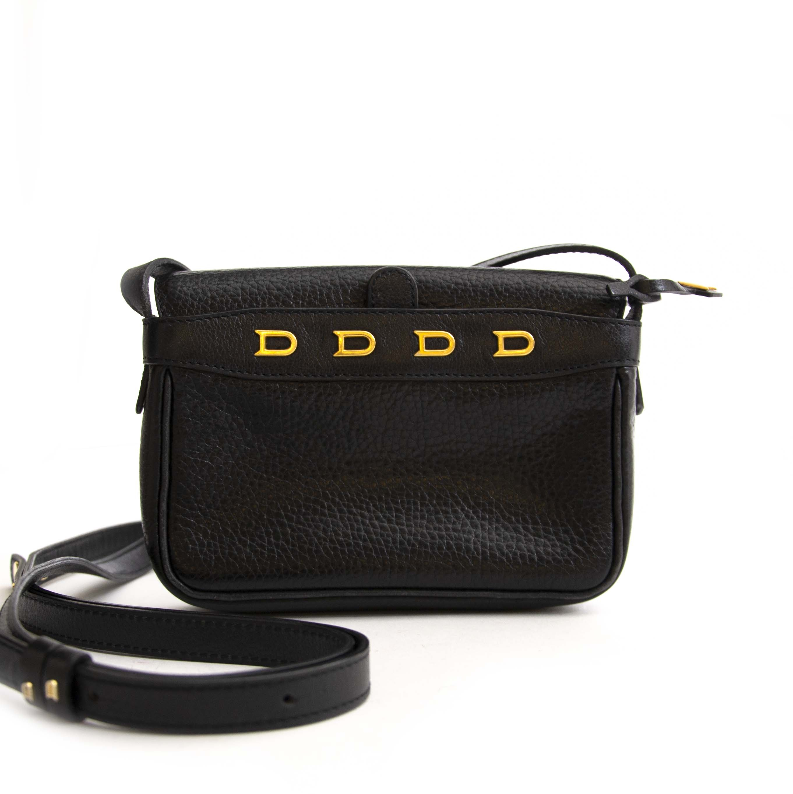 Delvaux Black Leather 'D' Mini Crossbody Bag