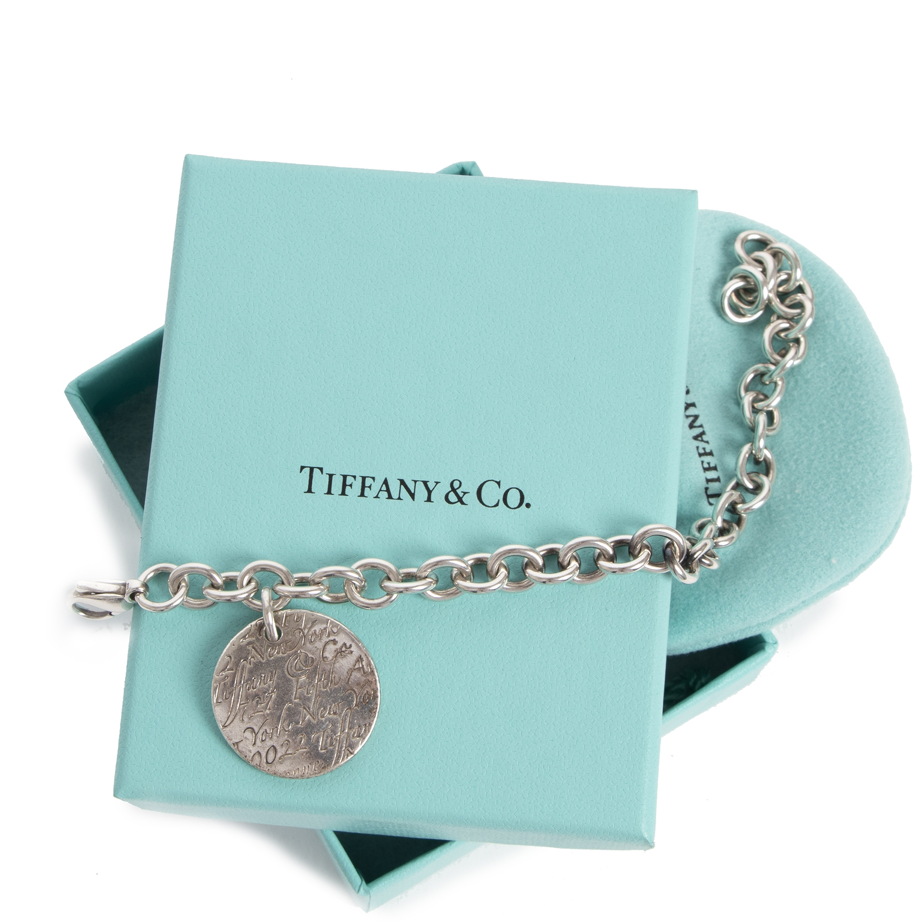 Authentic secondhand Tiffany & Co Silver Notes New York Fifth Ave Round Charm Bracelet designer accessories jewelry designer brands luxury vintage webshop