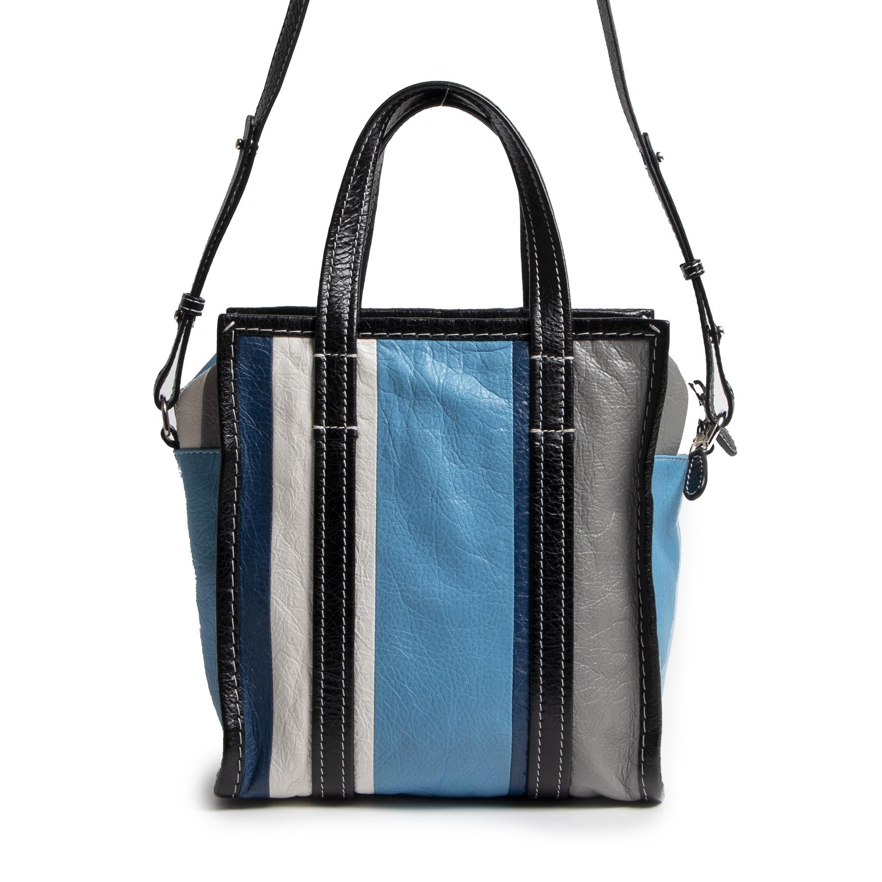 Authentic secondhand Balenciaga Blue Stripe Bazar Shopper Mini Tote Bag designer bags fashion luxury vintage webshop safe secure online shopping